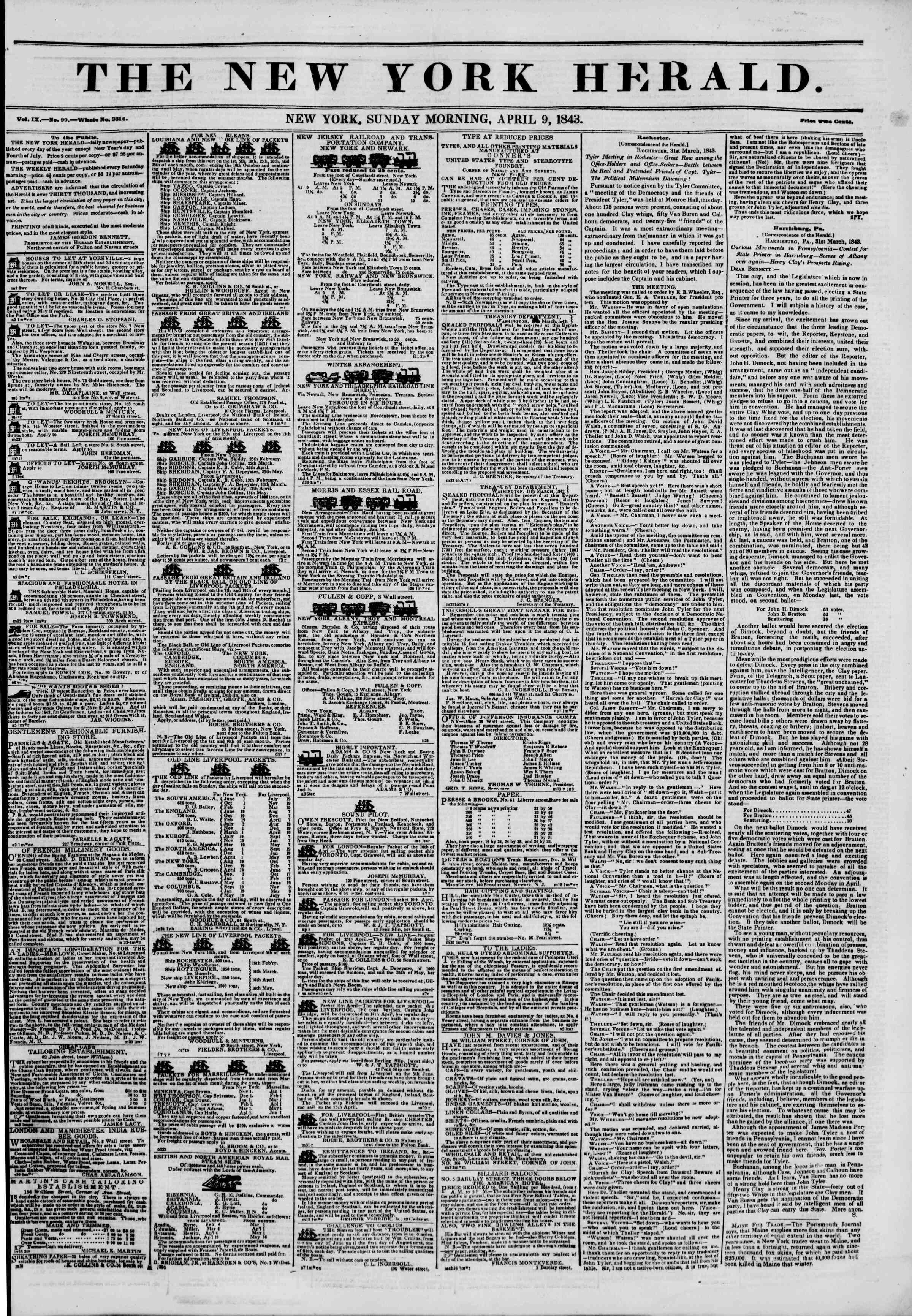 Newspaper of The New York Herald dated April 9, 1843 Page 1