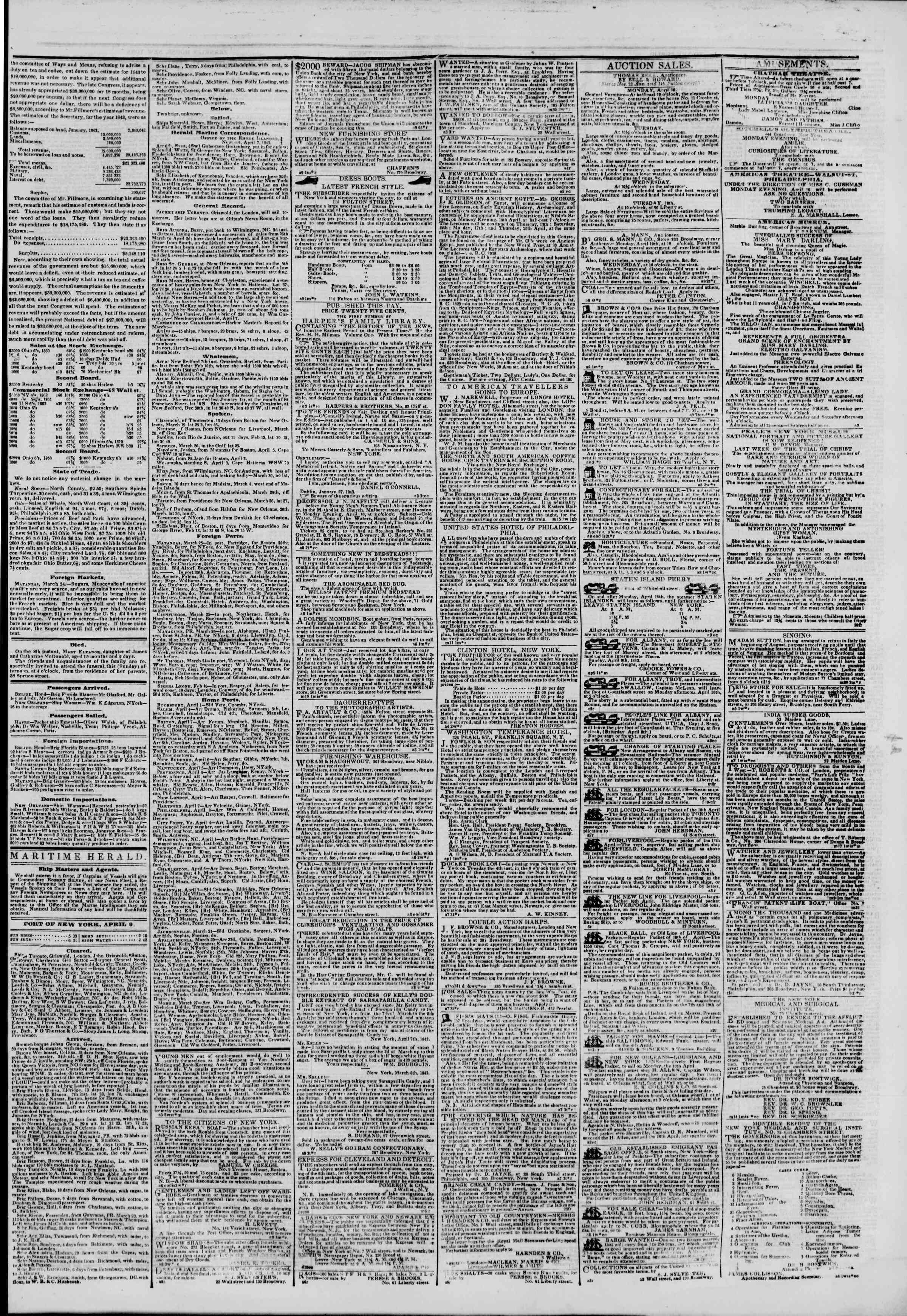 Newspaper of The New York Herald dated April 9, 1843 Page 3