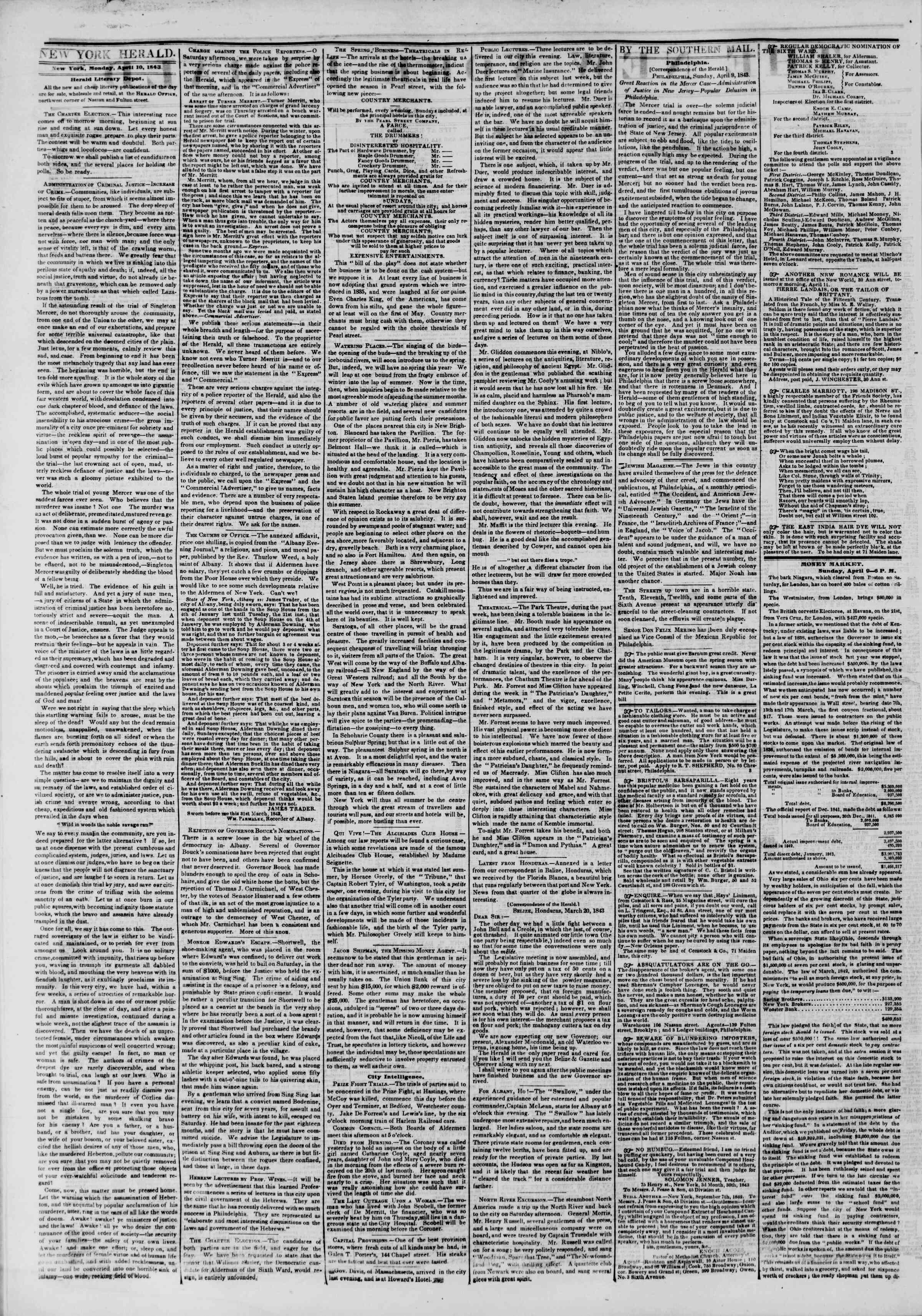 April 10, 1843 Tarihli The New York Herald Gazetesi Sayfa 2