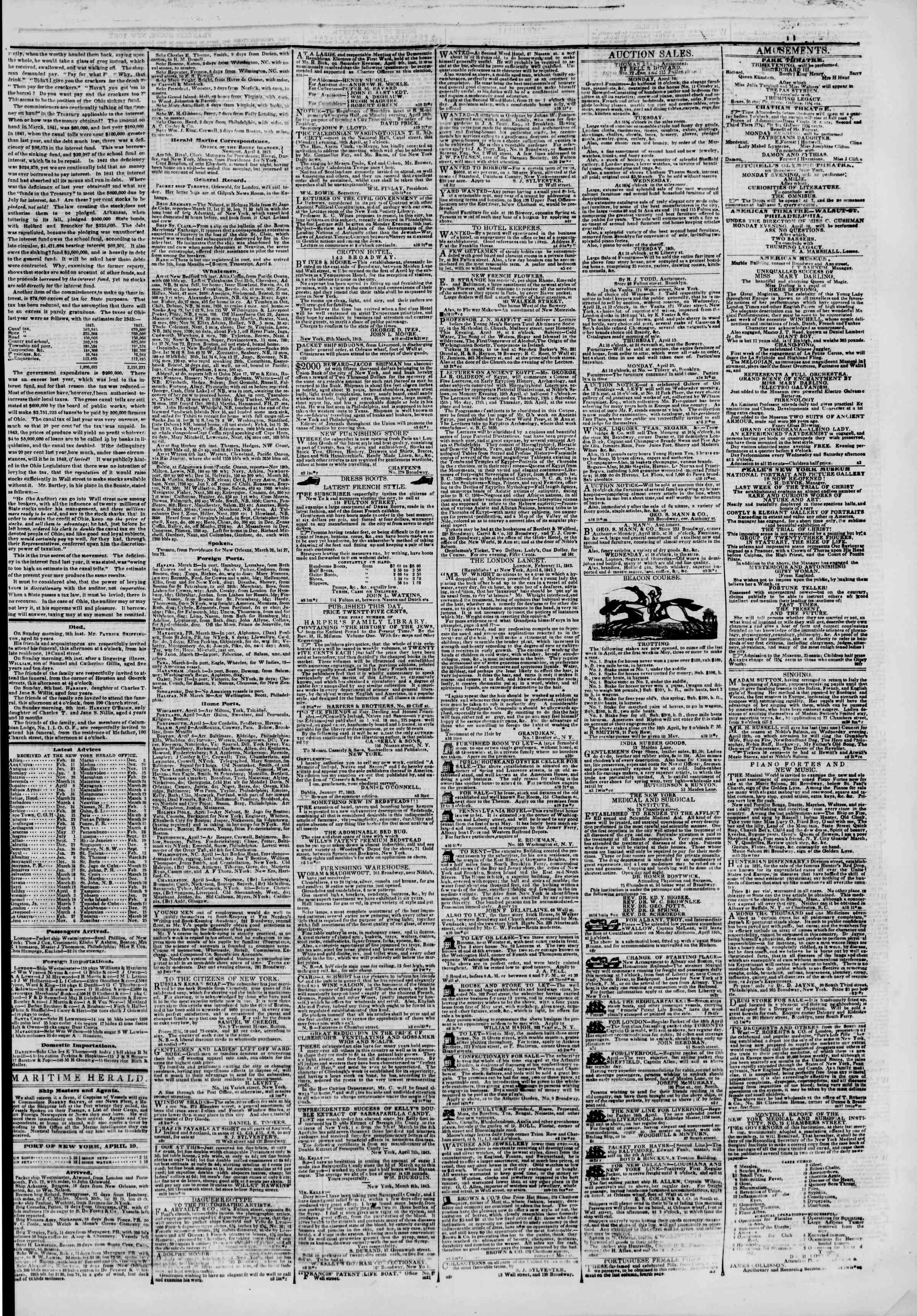April 10, 1843 Tarihli The New York Herald Gazetesi Sayfa 3