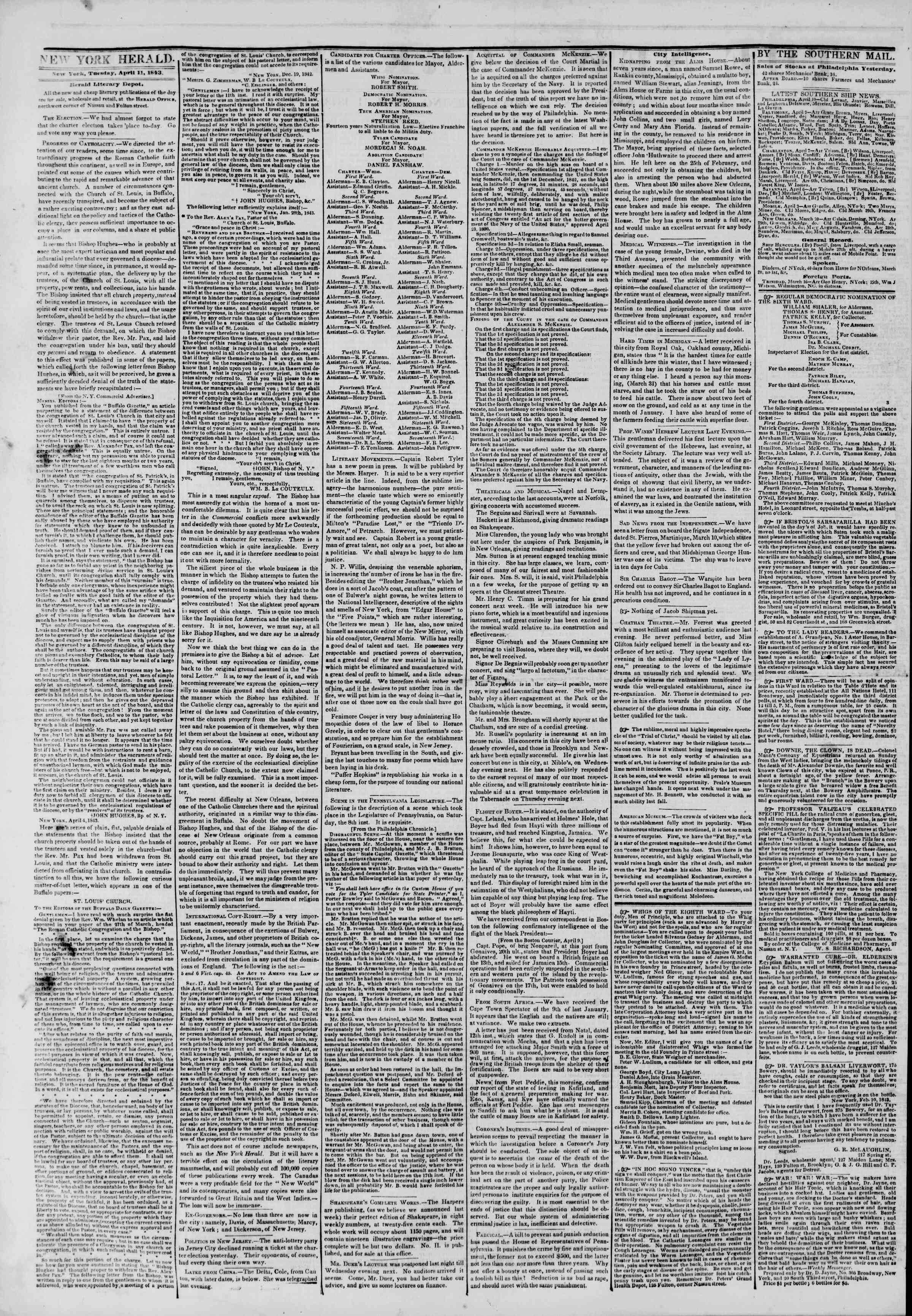 April 11, 1843 Tarihli The New York Herald Gazetesi Sayfa 2