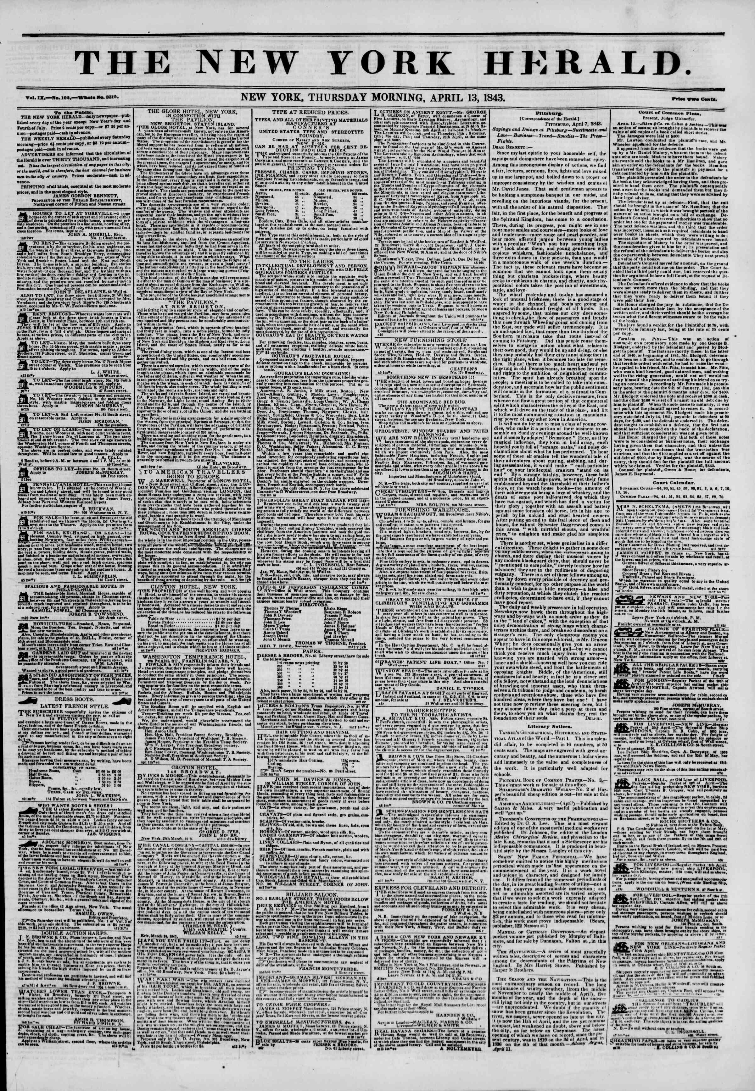13 Nisan 1843 tarihli The New York Herald Gazetesi Sayfa 1