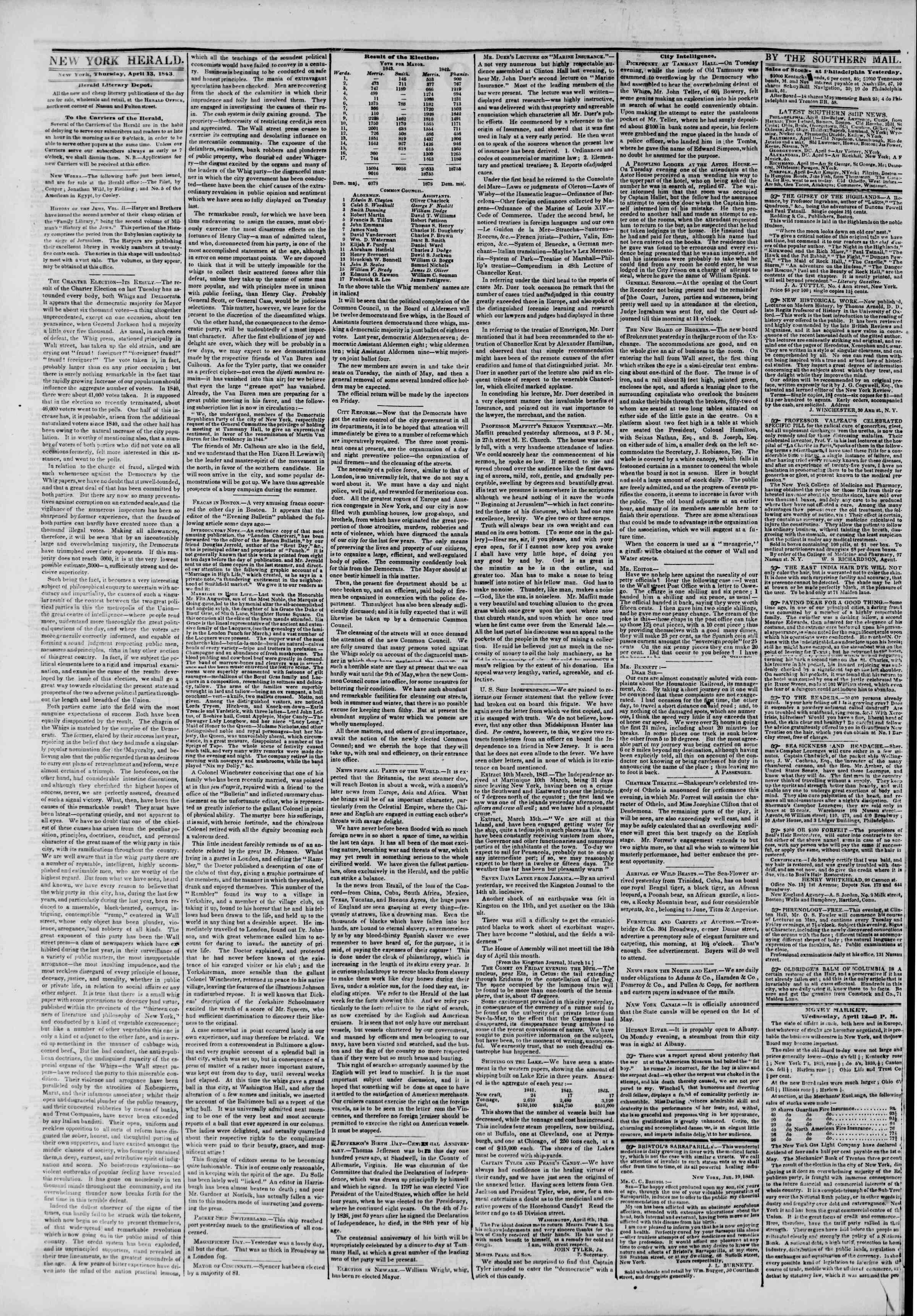April 13, 1843 Tarihli The New York Herald Gazetesi Sayfa 2