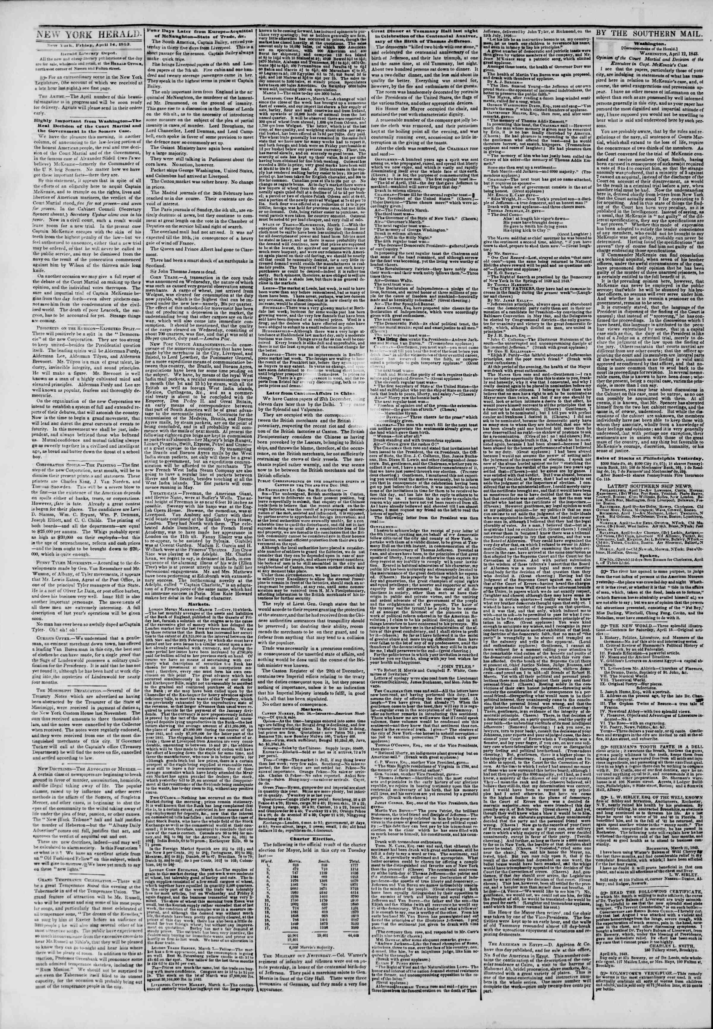 April 14, 1843 Tarihli The New York Herald Gazetesi Sayfa 2