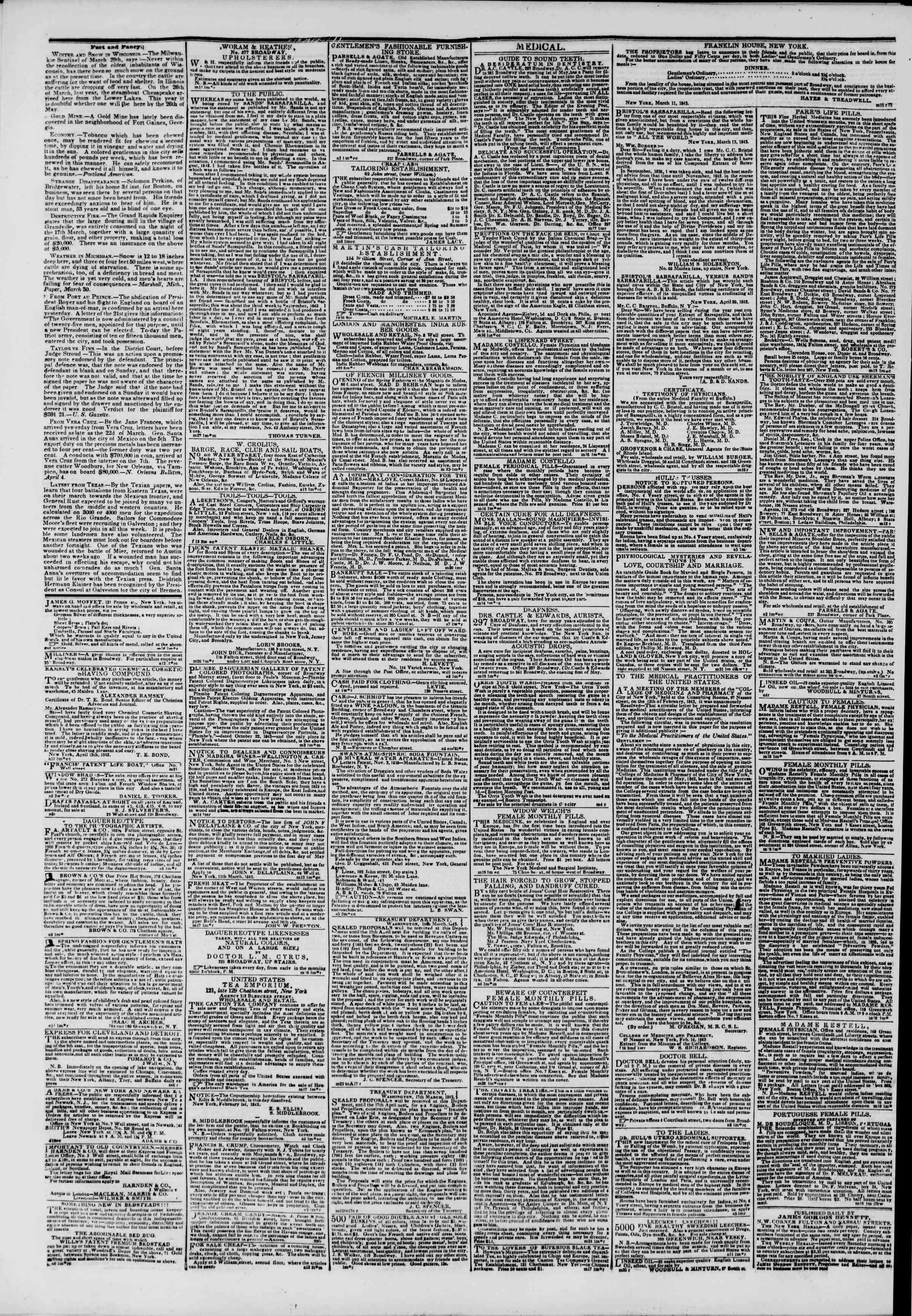 April 14, 1843 Tarihli The New York Herald Gazetesi Sayfa 4