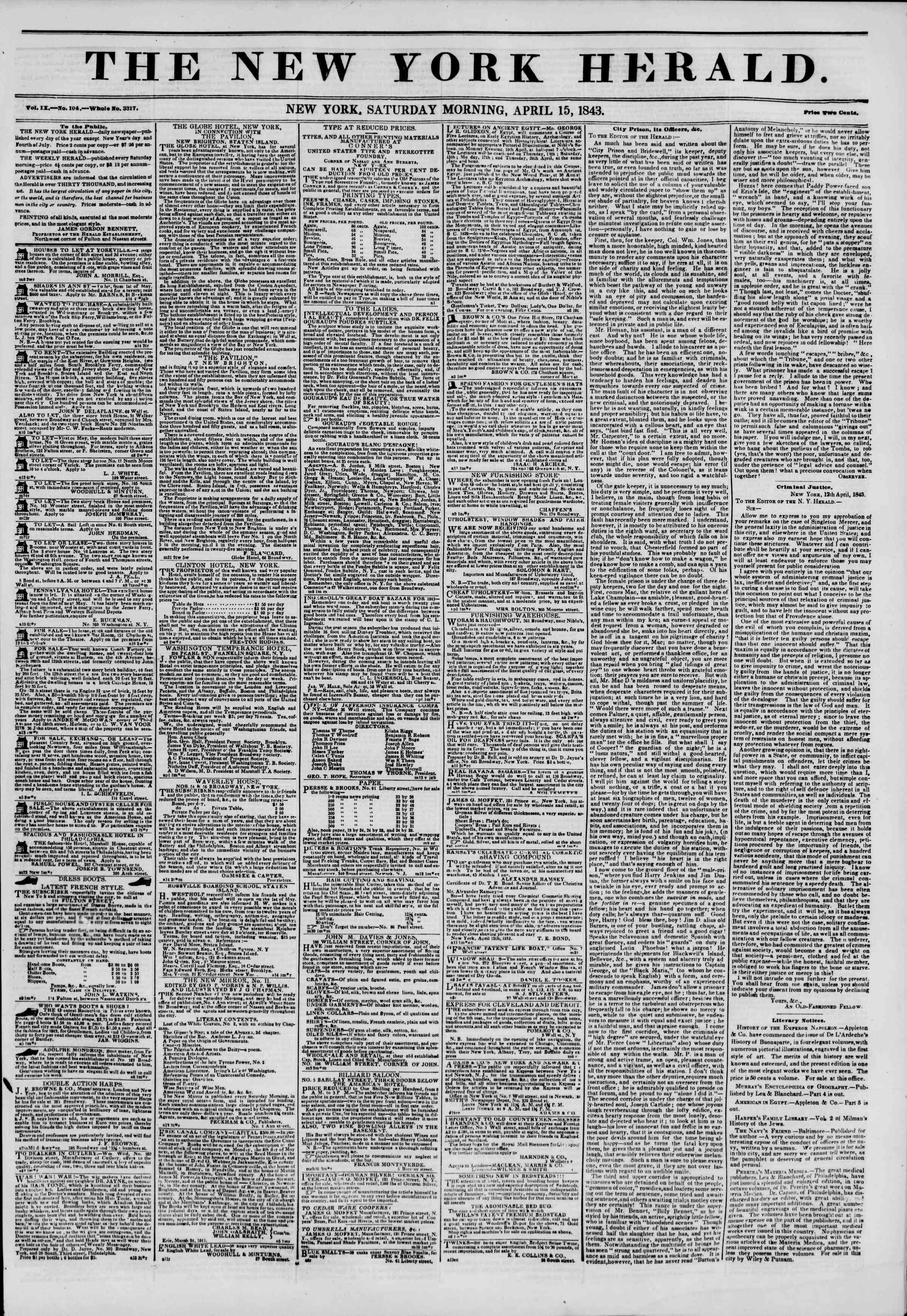 Newspaper of The New York Herald dated April 15, 1843 Page 1