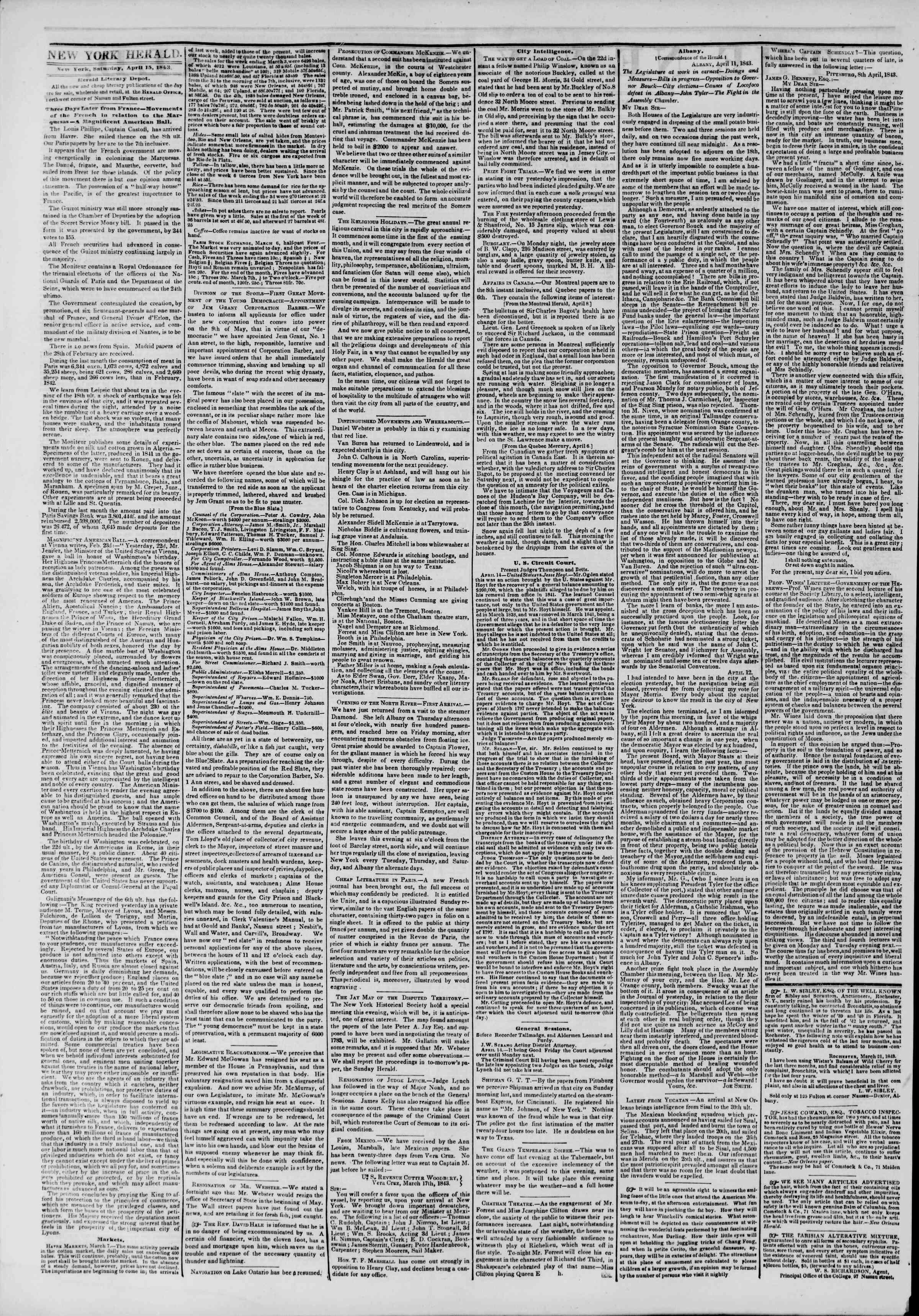 April 15, 1843 Tarihli The New York Herald Gazetesi Sayfa 2