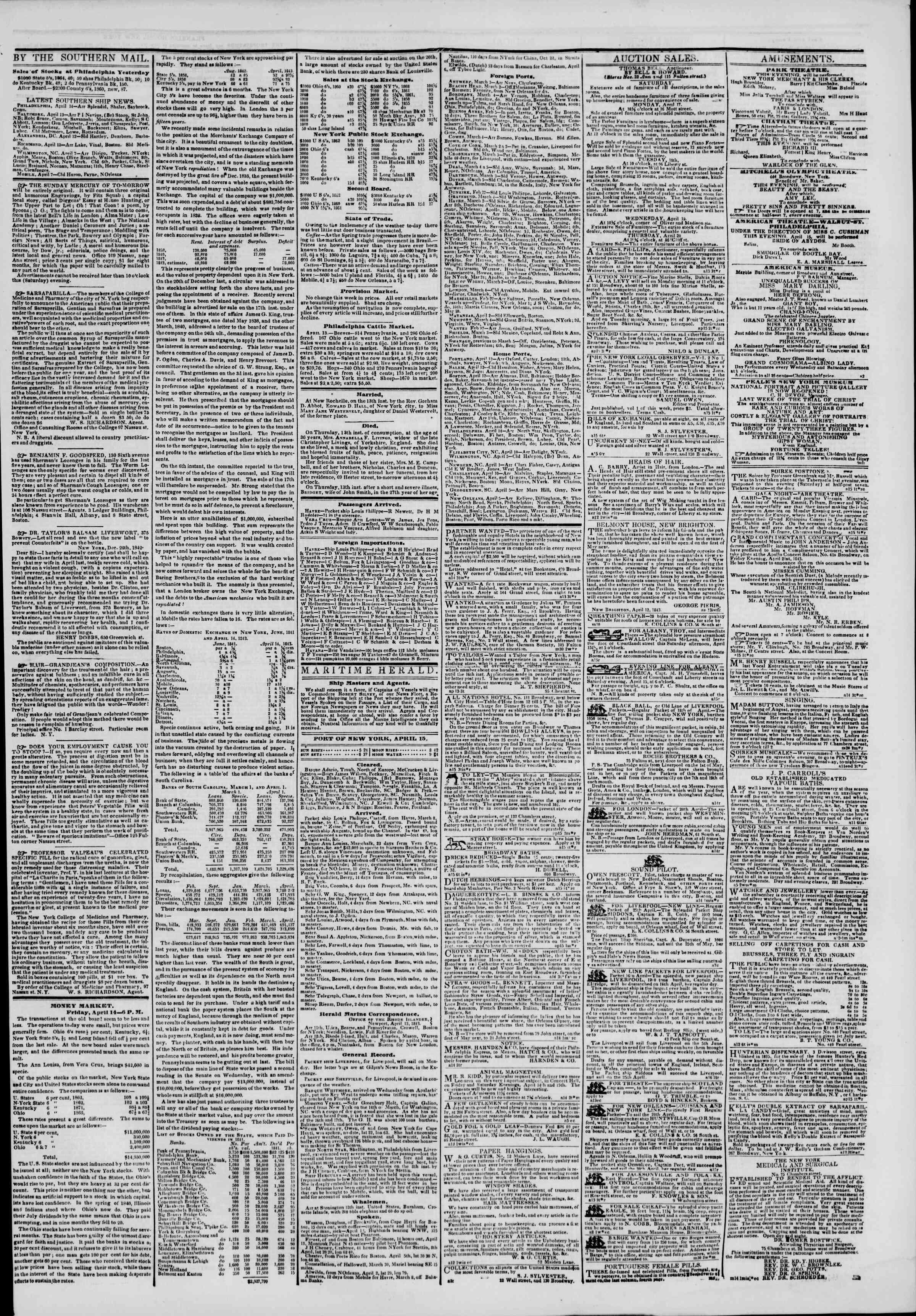 April 15, 1843 Tarihli The New York Herald Gazetesi Sayfa 3
