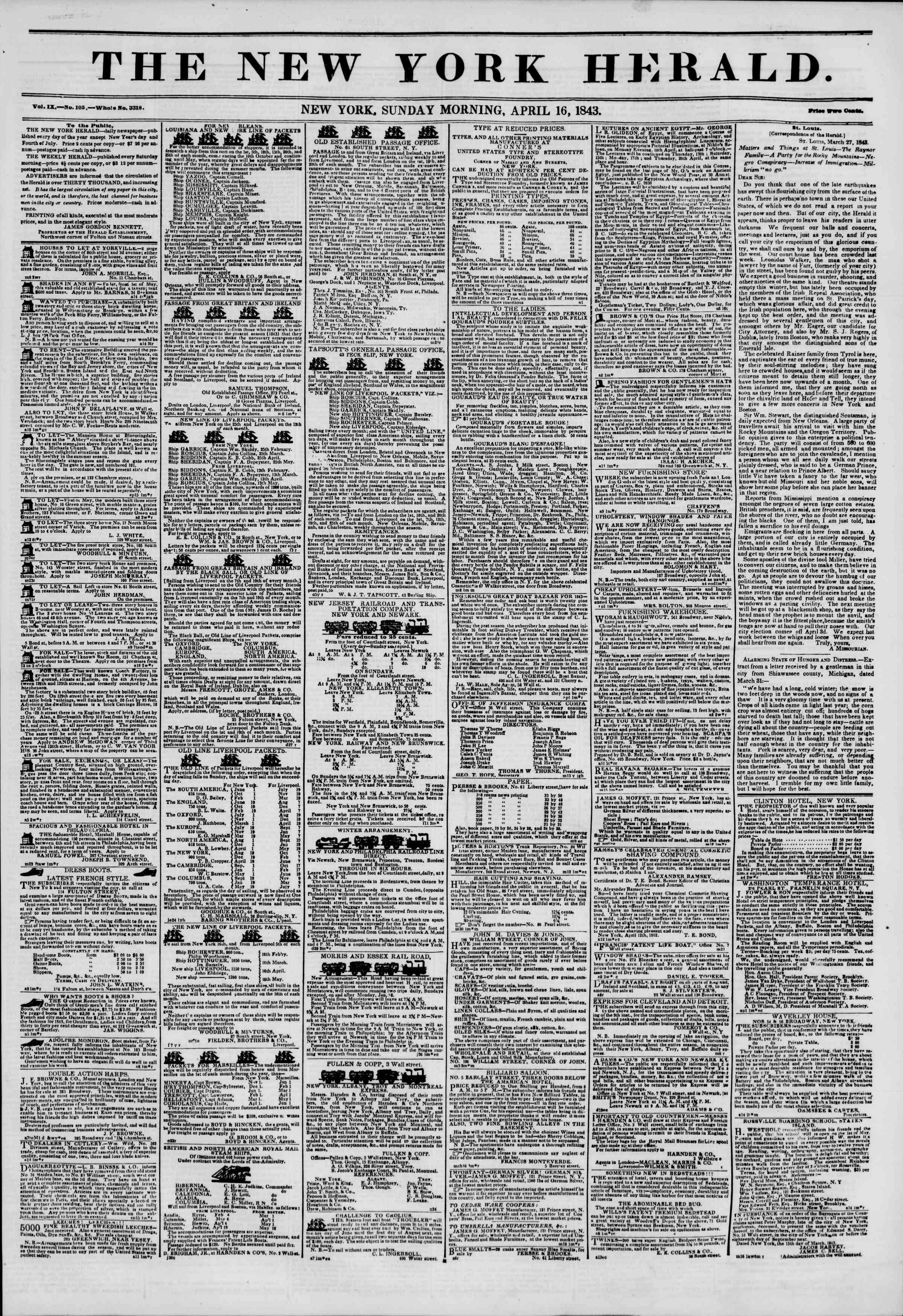 April 16, 1843 Tarihli The New York Herald Gazetesi Sayfa 1