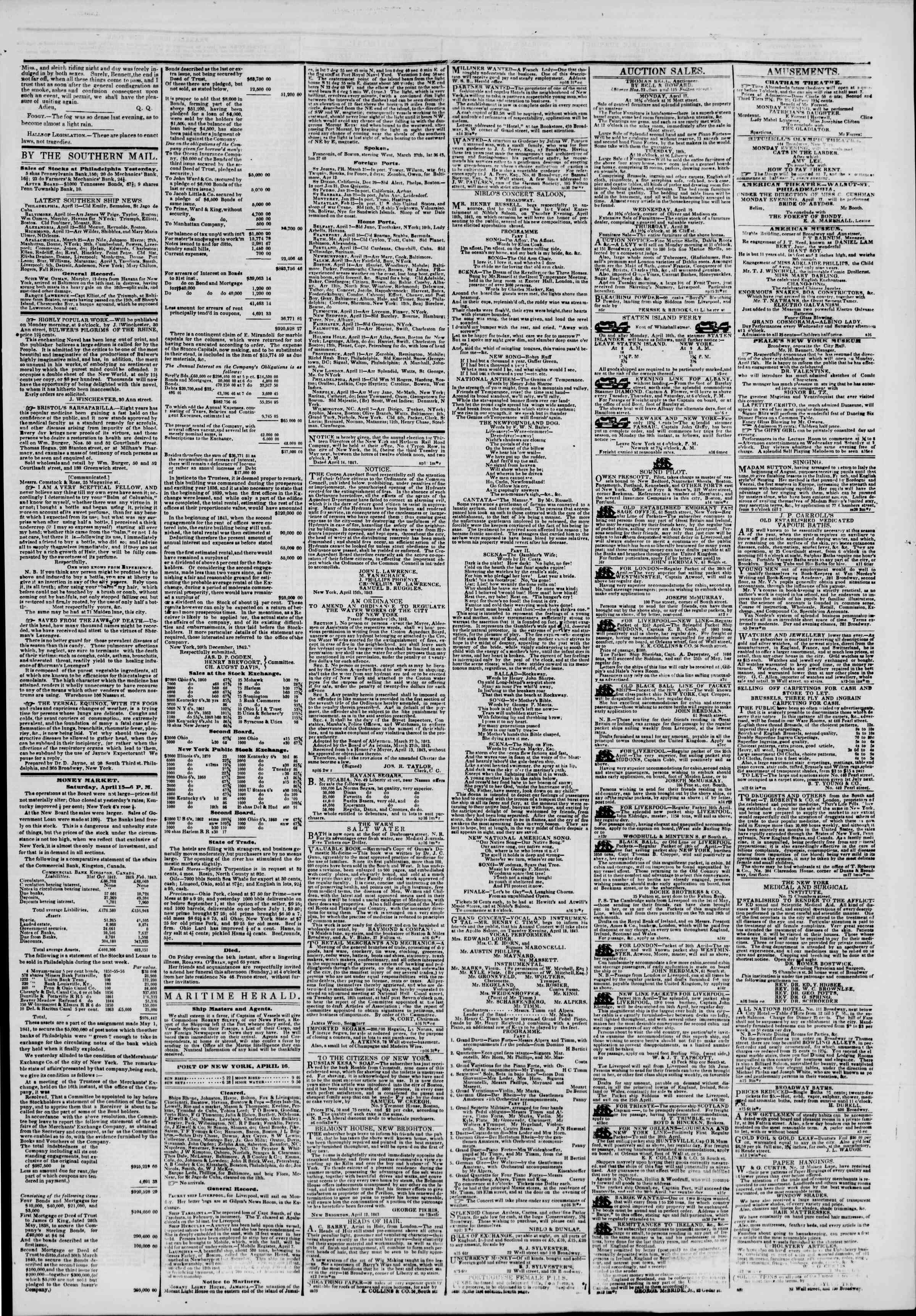 16 Nisan 1843 Tarihli The New York Herald Gazetesi Sayfa 3