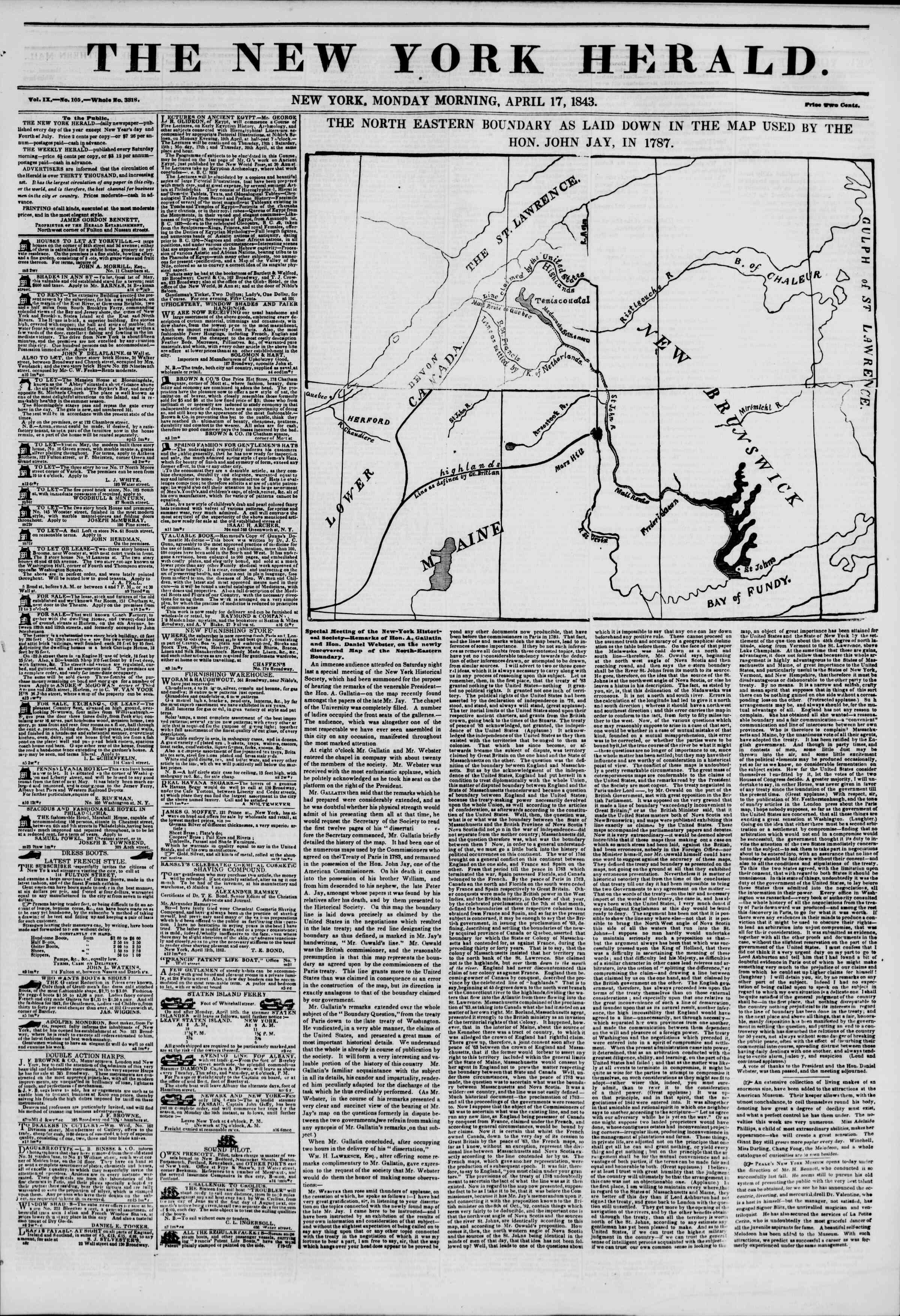 April 17, 1843 Tarihli The New York Herald Gazetesi Sayfa 1