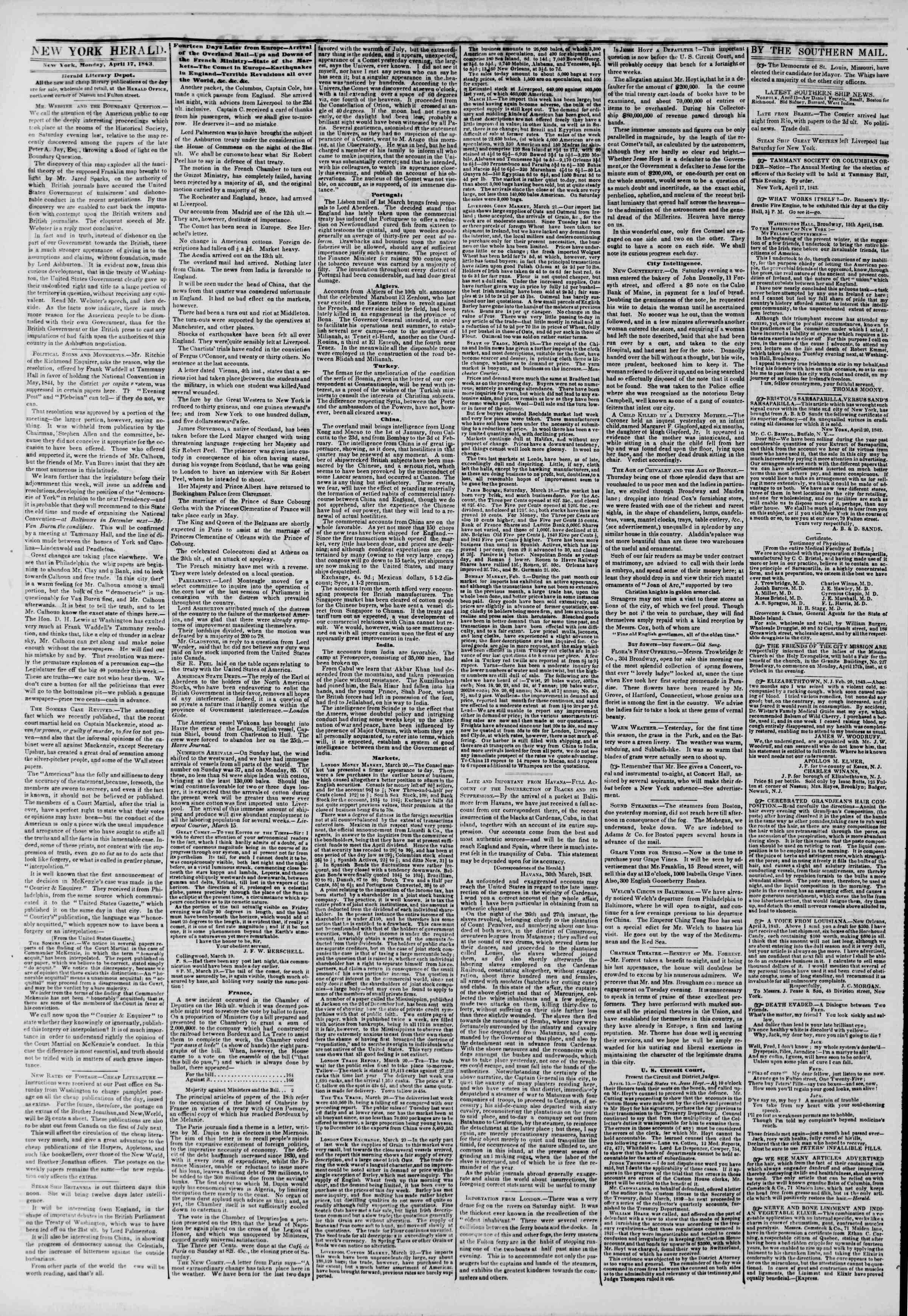 April 17, 1843 Tarihli The New York Herald Gazetesi Sayfa 2