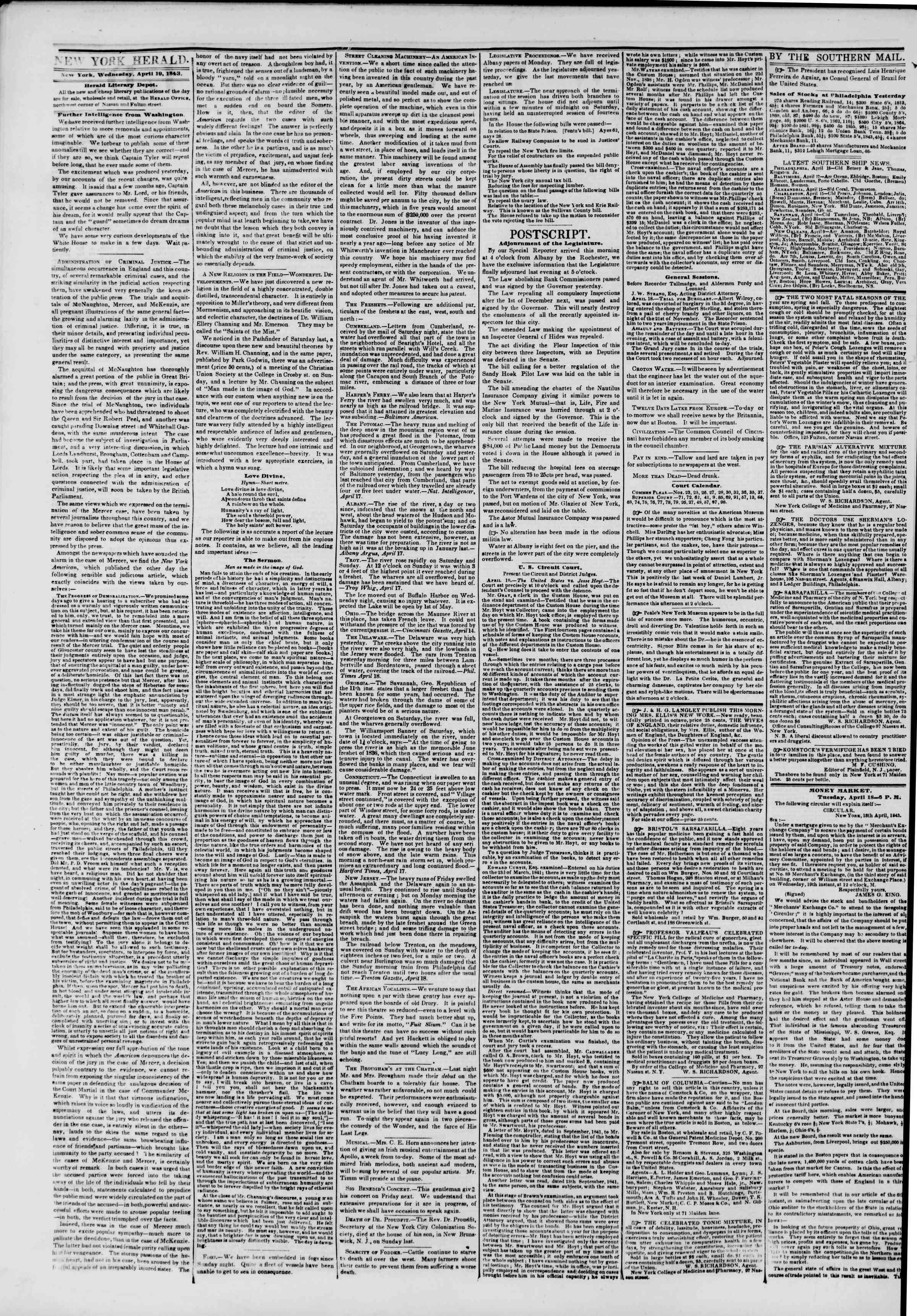 April 19, 1843 Tarihli The New York Herald Gazetesi Sayfa 2