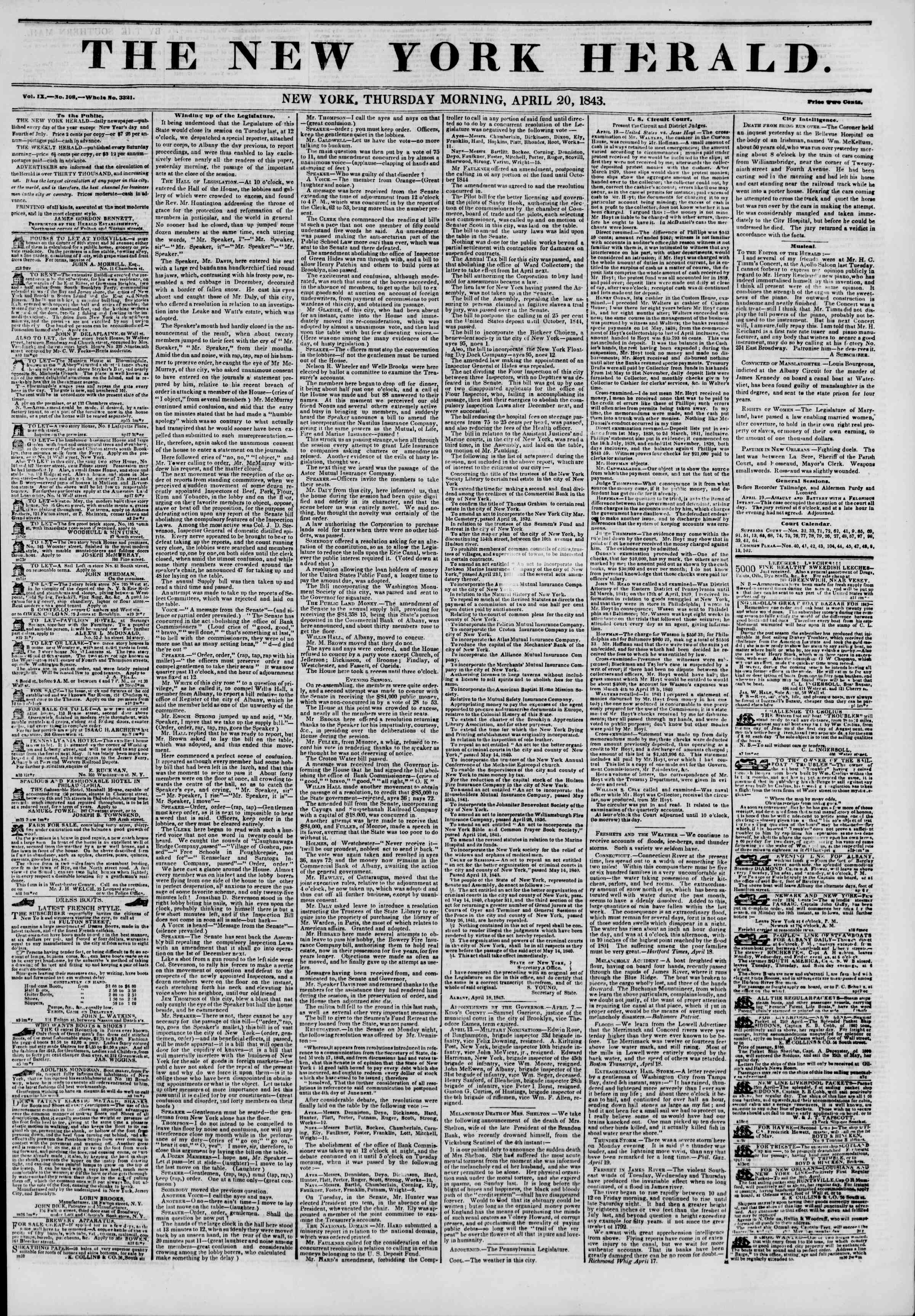 Newspaper of The New York Herald dated April 20, 1843 Page 1