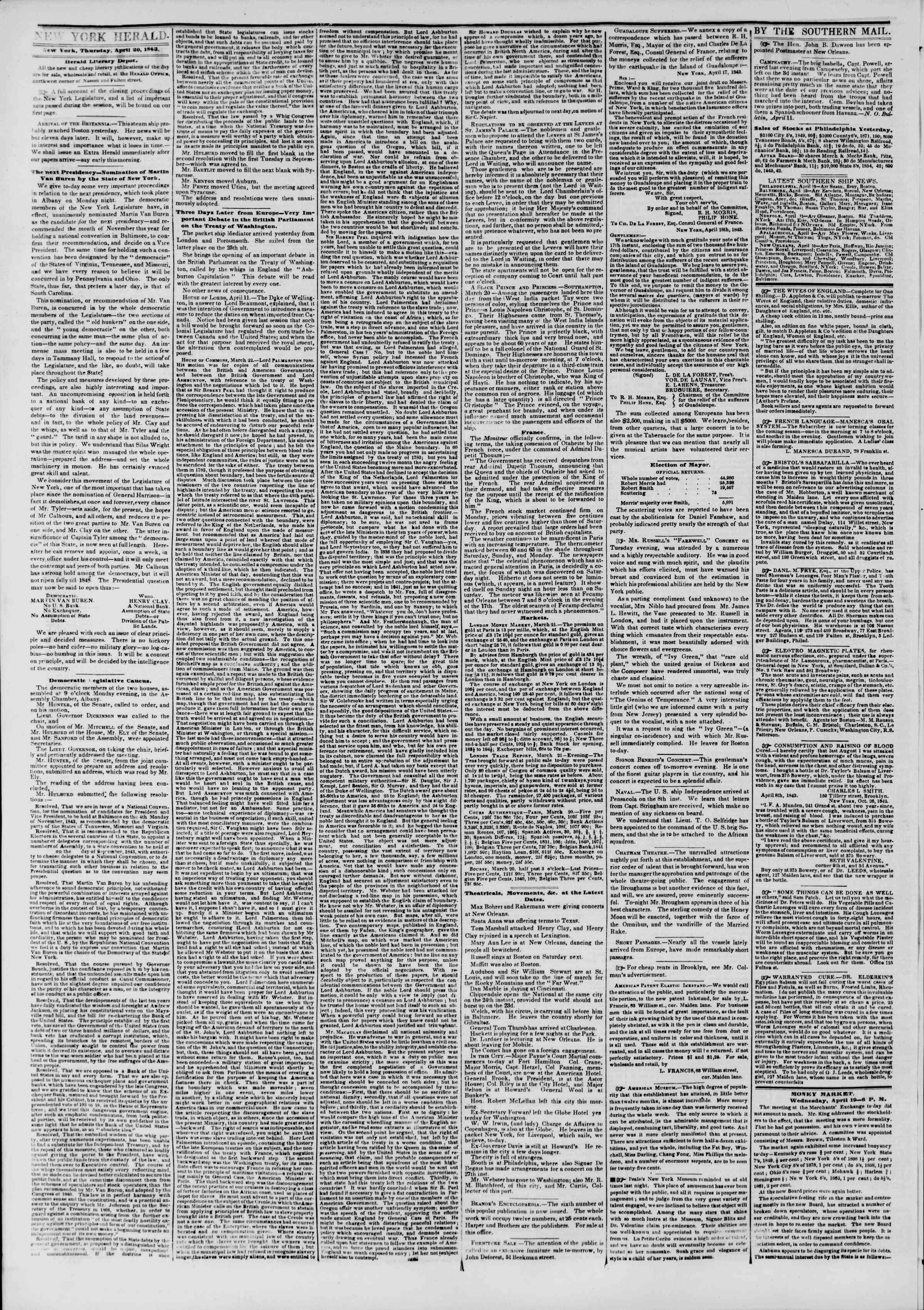 April 20, 1843 Tarihli The New York Herald Gazetesi Sayfa 2