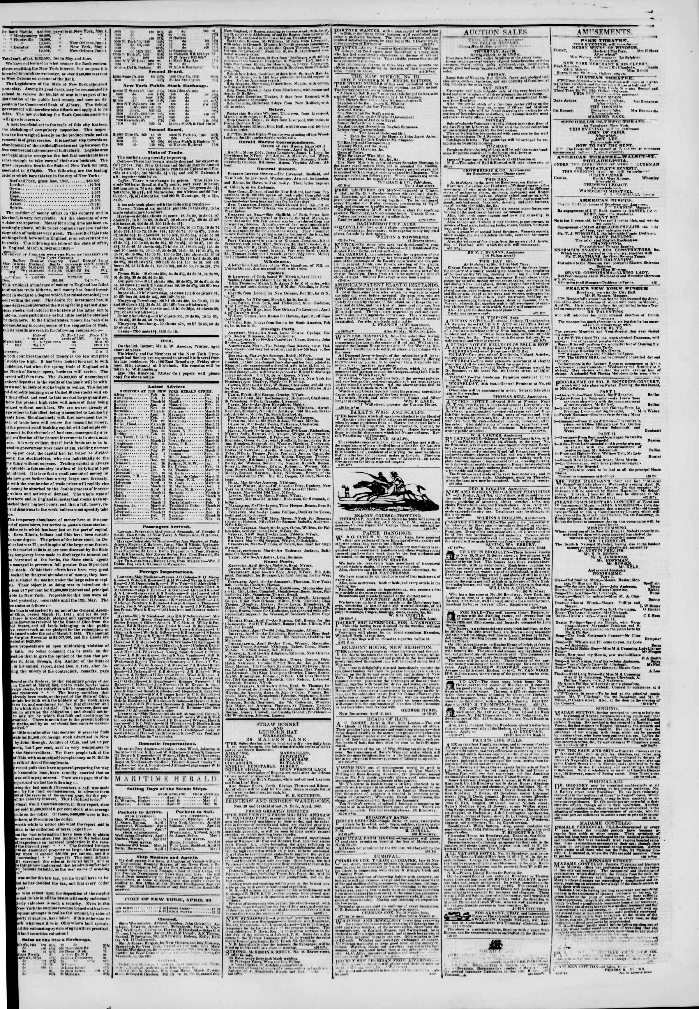 April 20, 1843 Tarihli The New York Herald Gazetesi Sayfa 3