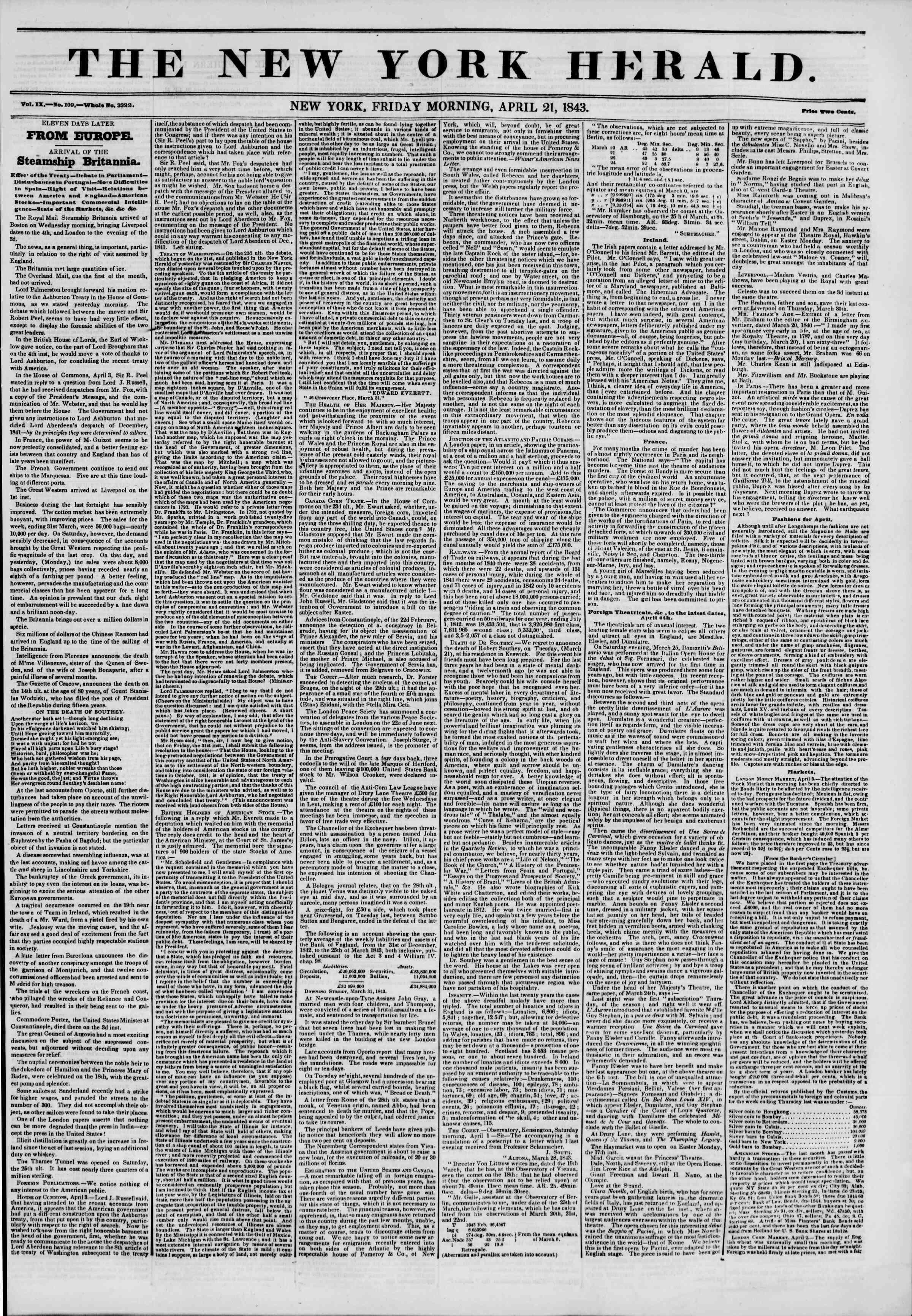 April 21, 1843 Tarihli The New York Herald Gazetesi Sayfa 1