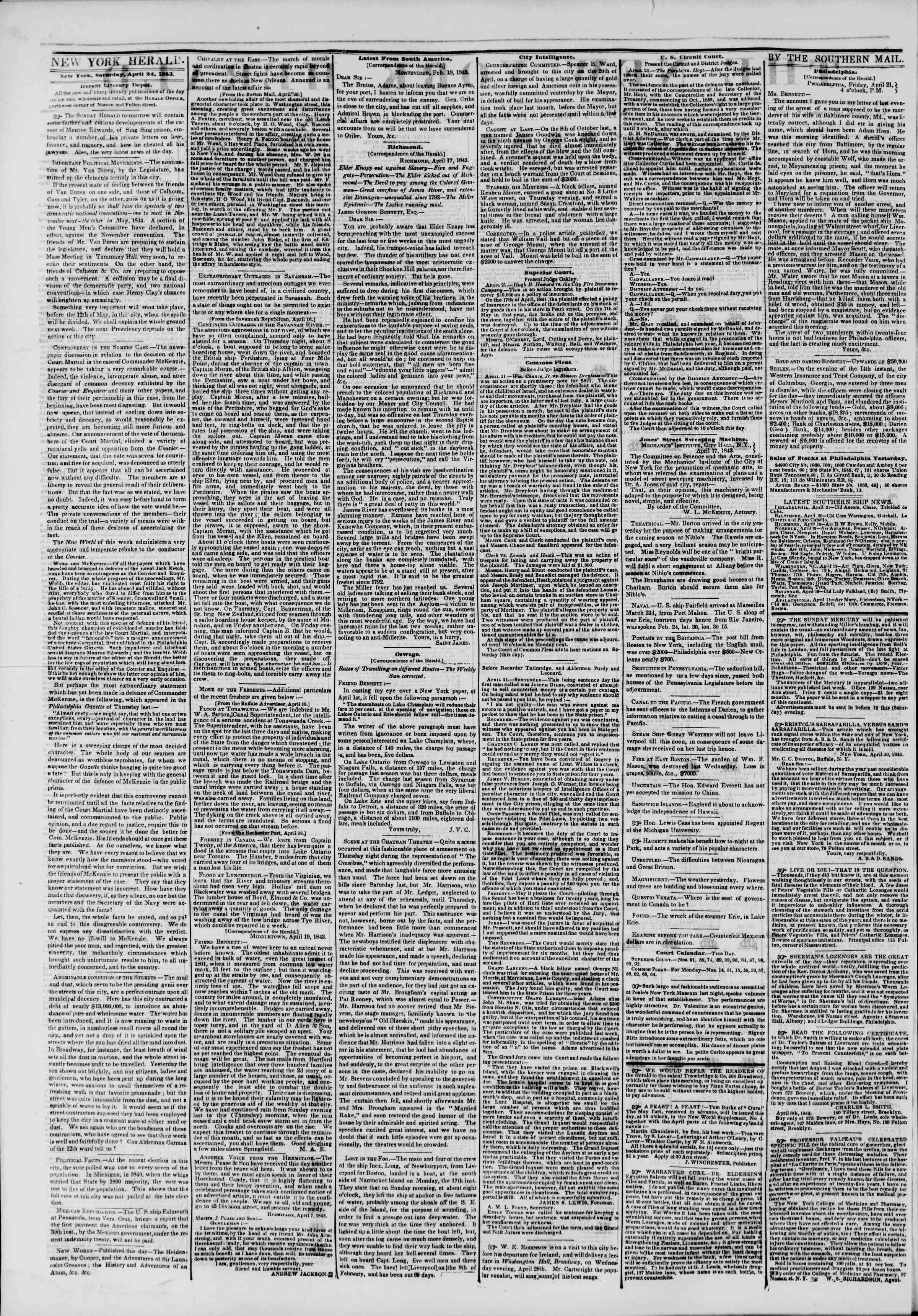 Newspaper of The New York Herald dated April 22, 1843 Page 2