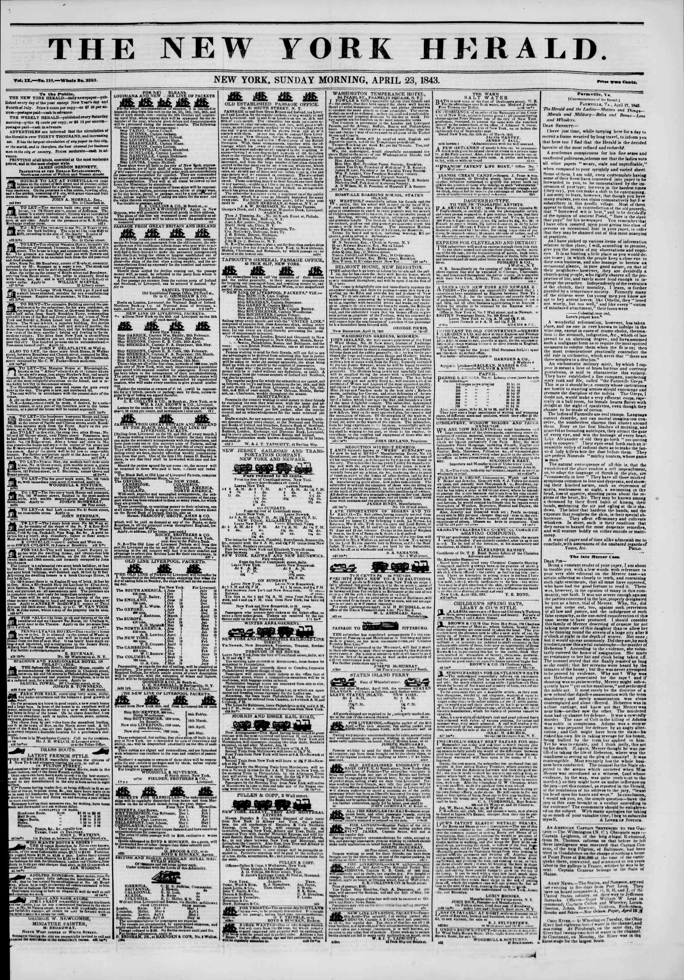 April 23, 1843 Tarihli The New York Herald Gazetesi Sayfa 1