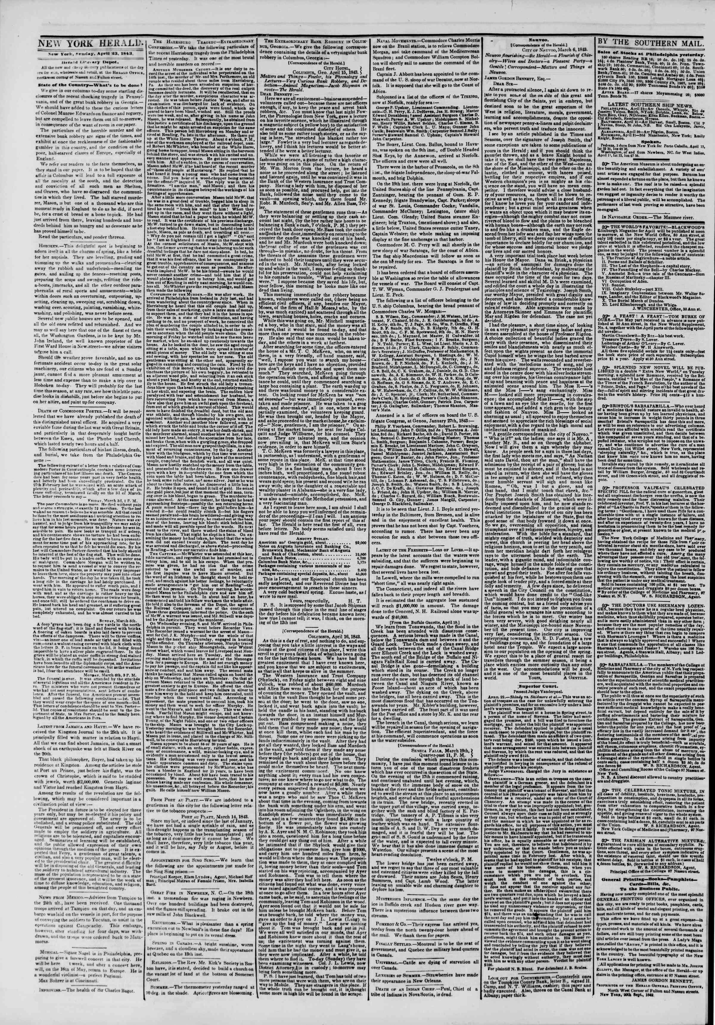 Newspaper of The New York Herald dated April 23, 1843 Page 2
