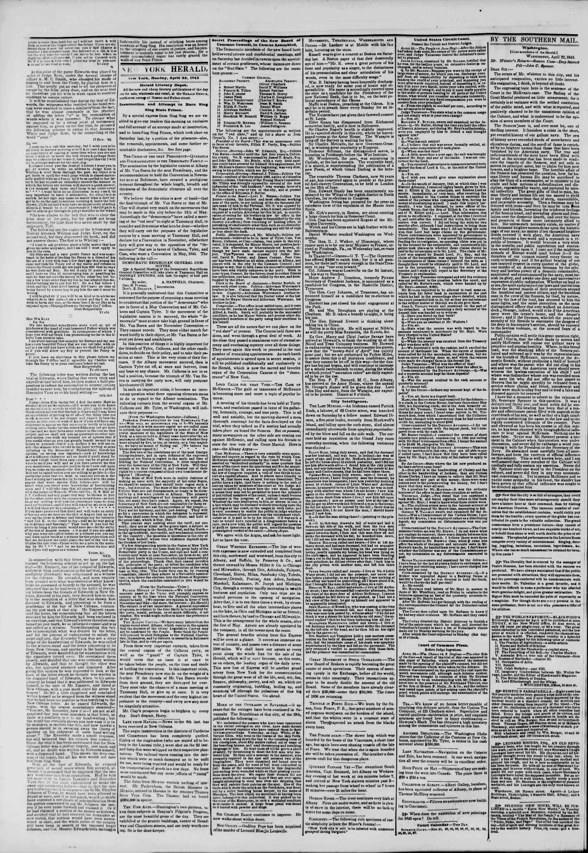 April 24, 1843 Tarihli The New York Herald Gazetesi Sayfa 2