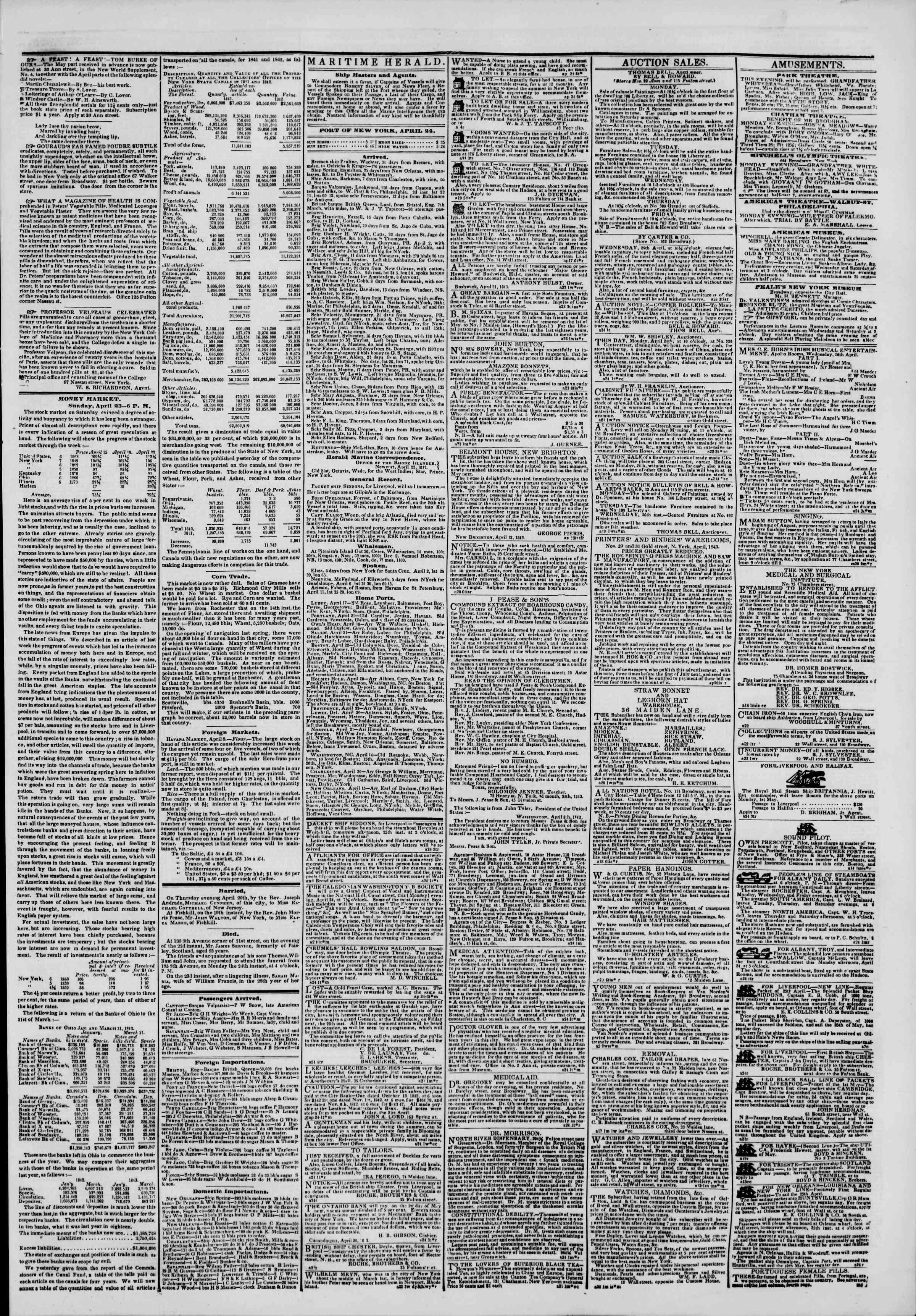 April 24, 1843 Tarihli The New York Herald Gazetesi Sayfa 3