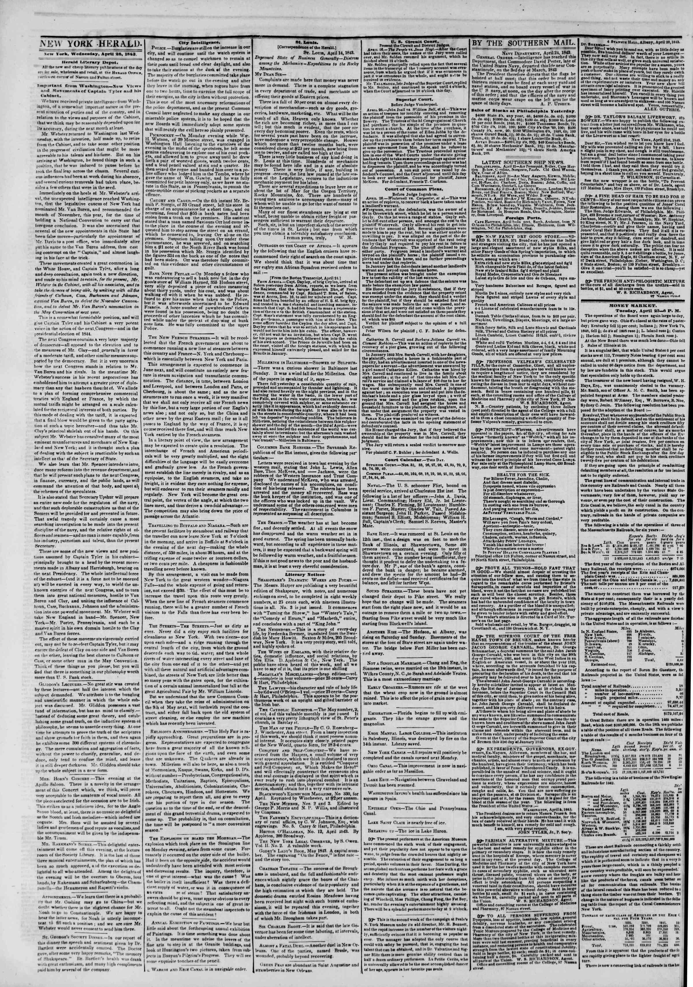 April 26, 1843 Tarihli The New York Herald Gazetesi Sayfa 2
