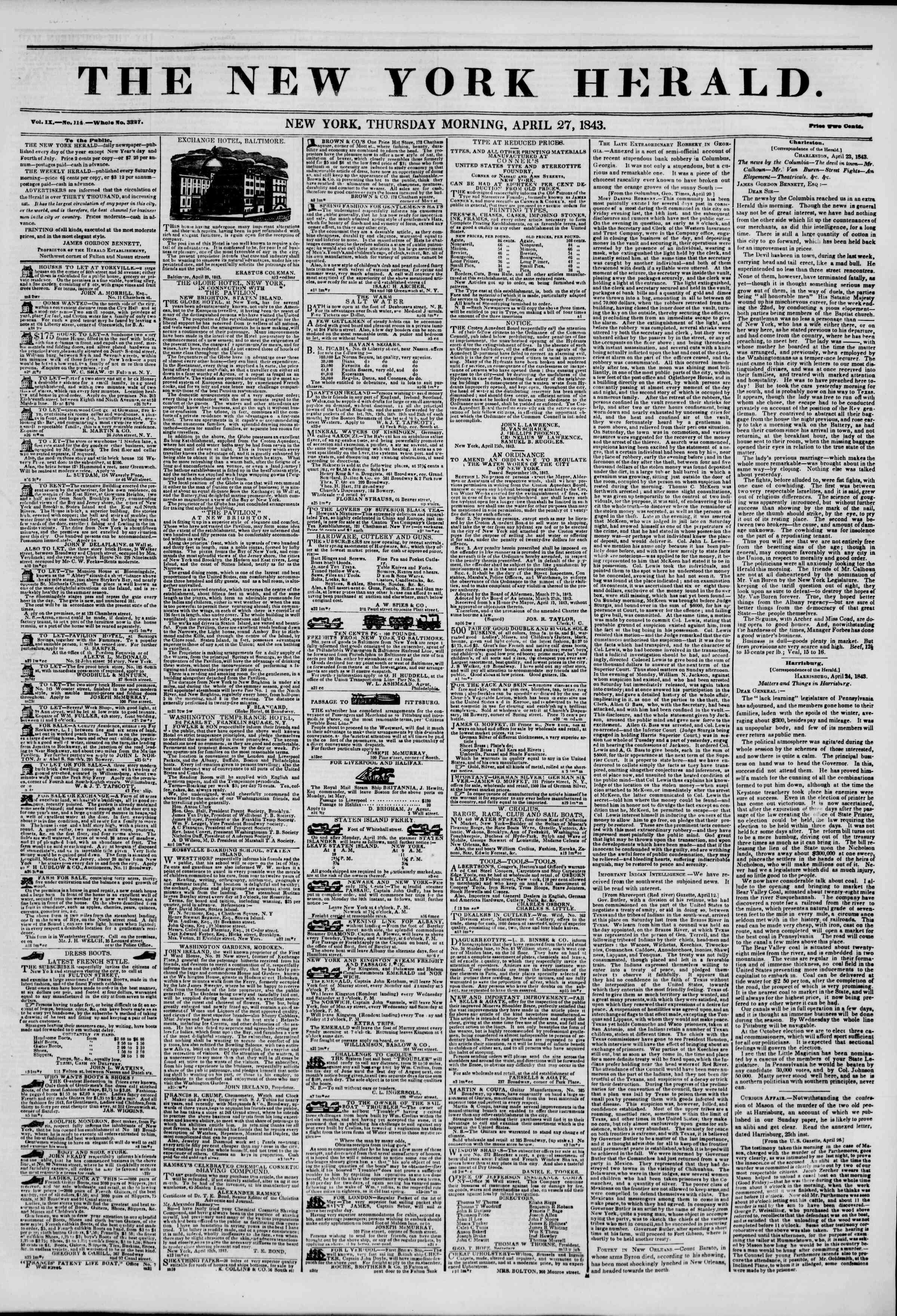 April 27, 1843 Tarihli The New York Herald Gazetesi Sayfa 1