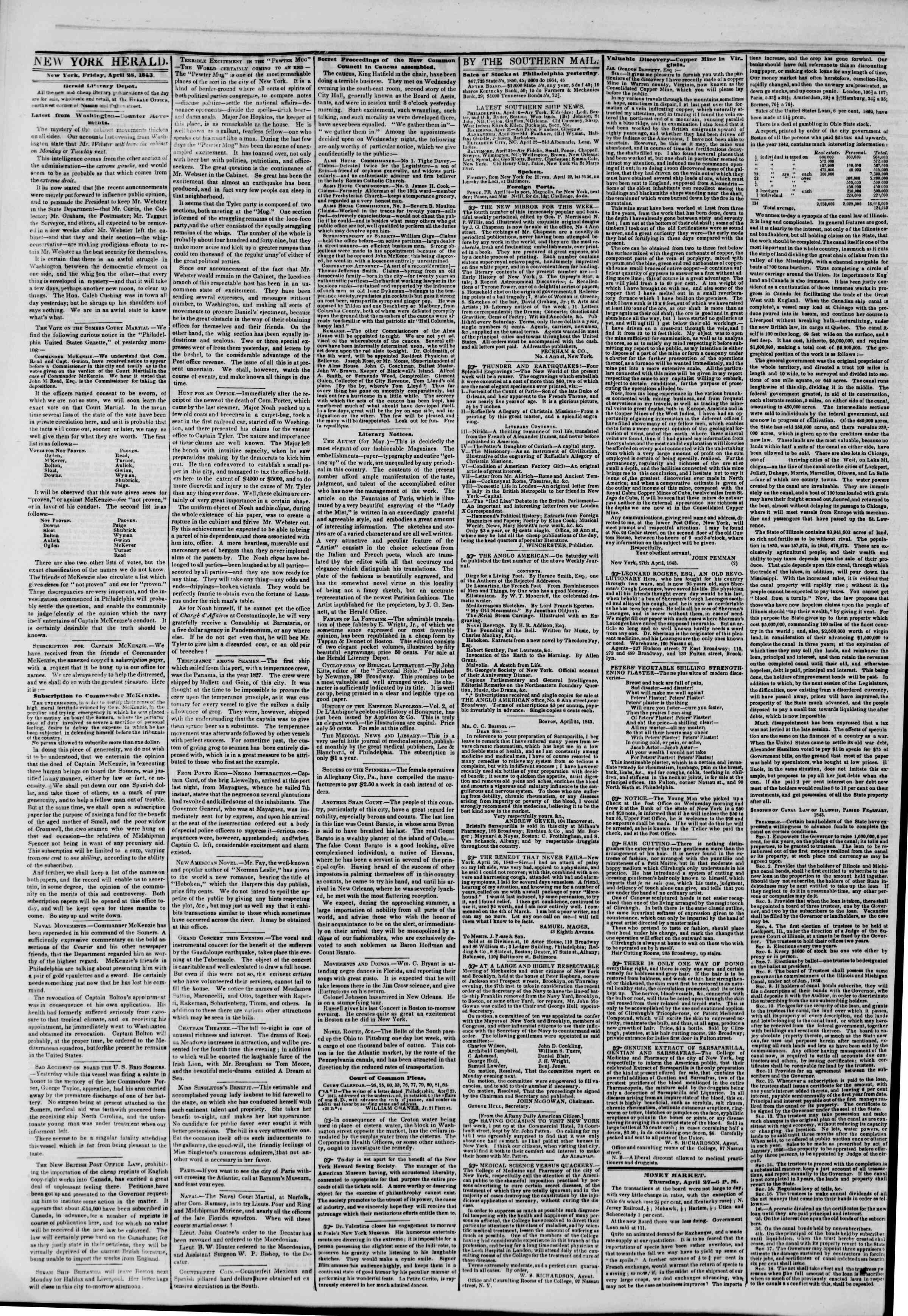 Newspaper of The New York Herald dated April 28, 1843 Page 2