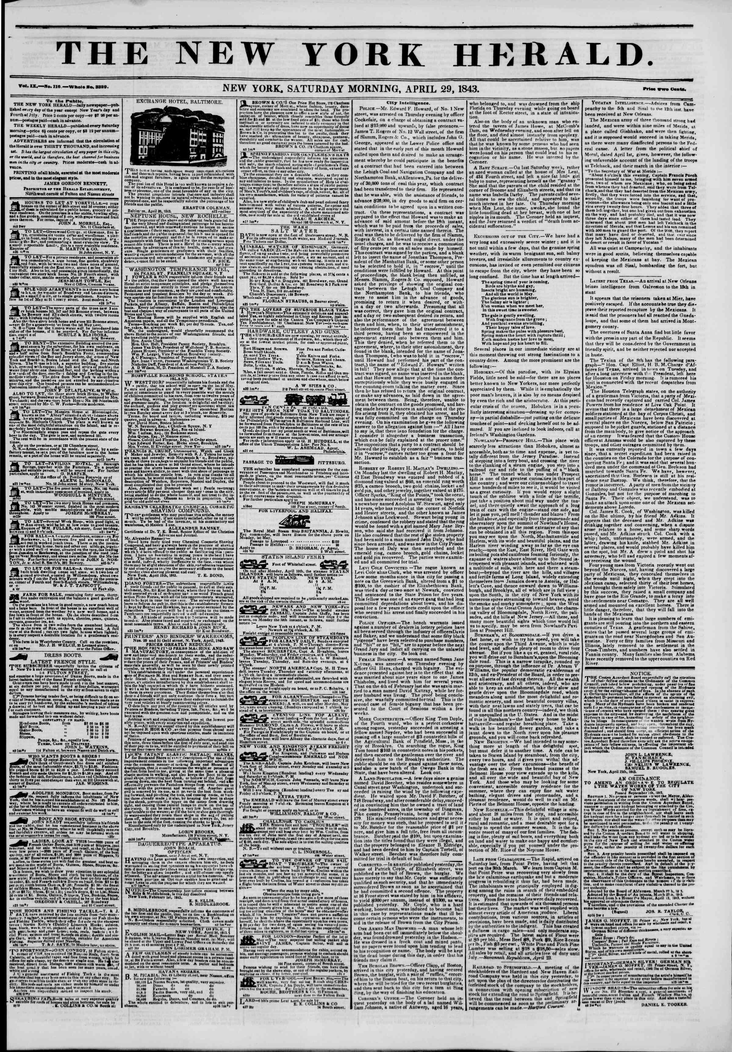 Newspaper of The New York Herald dated April 29, 1843 Page 1