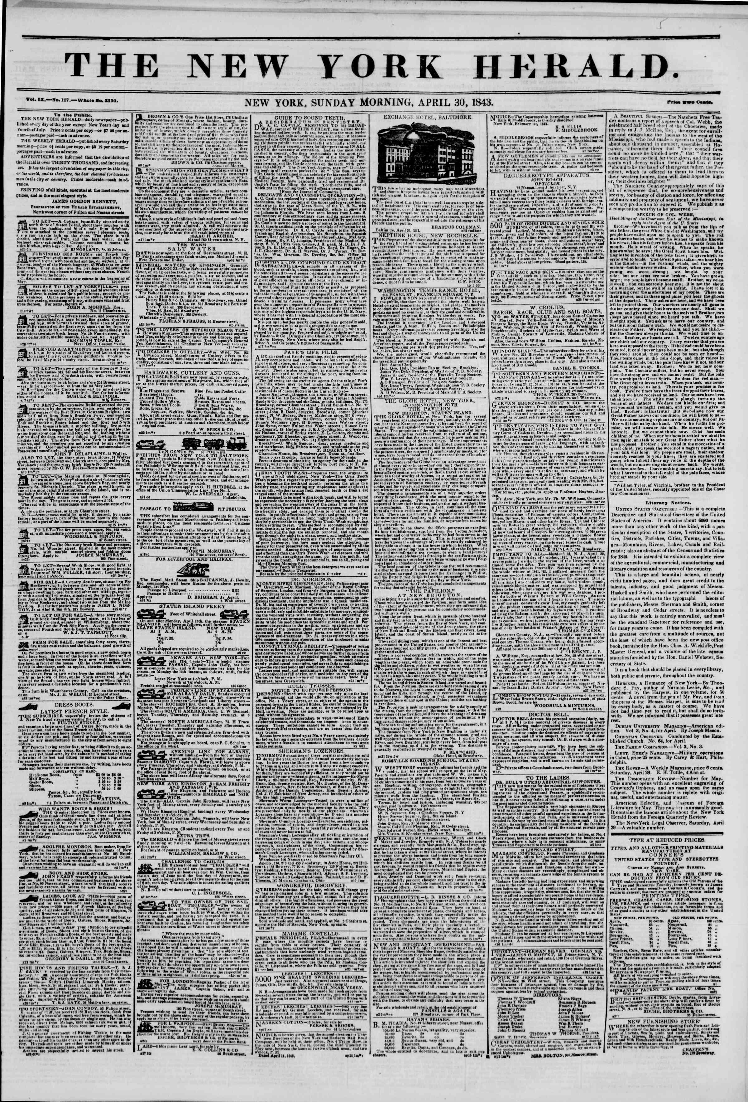April 30, 1843 Tarihli The New York Herald Gazetesi Sayfa 1