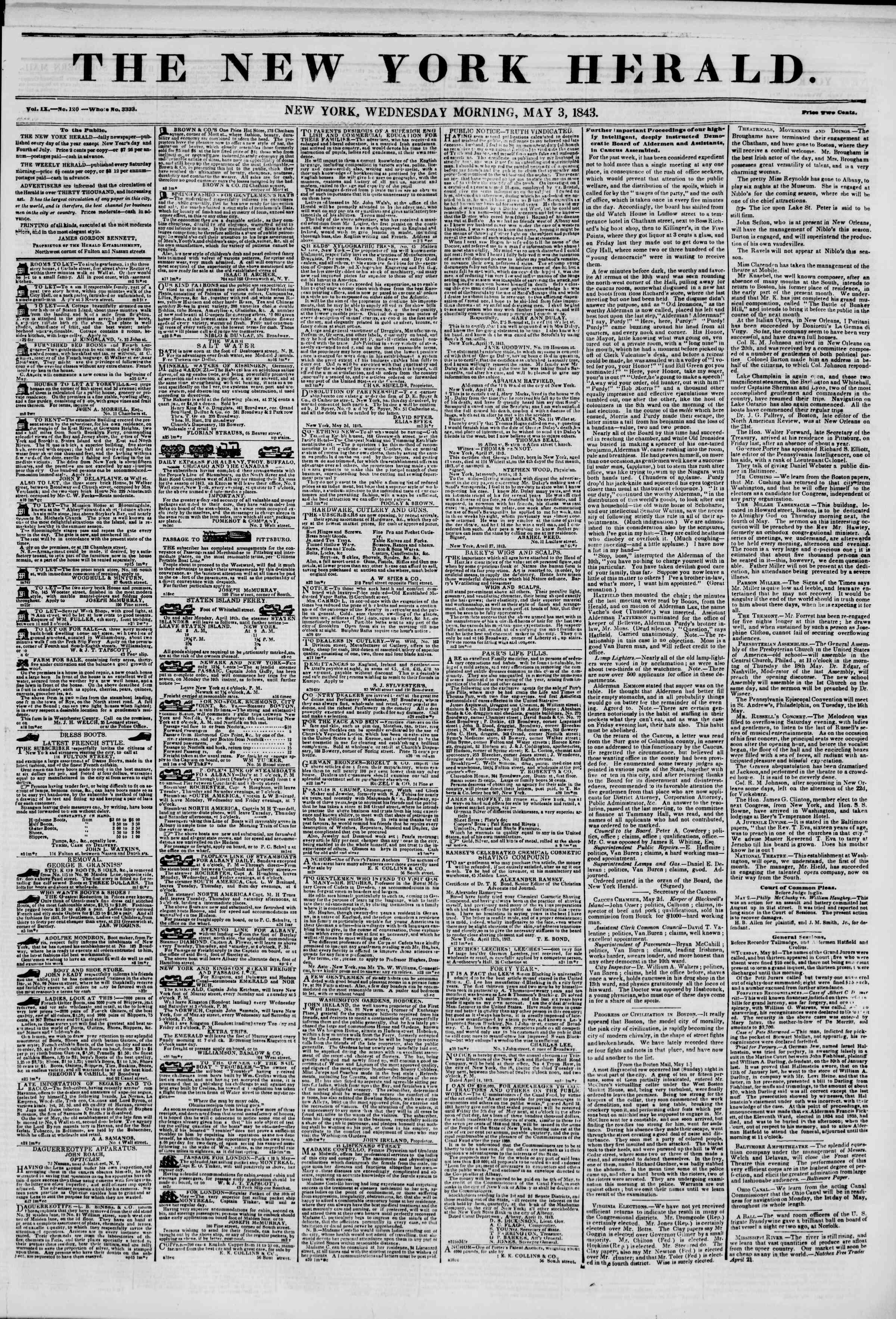 3 Mayıs 1843 Tarihli The New York Herald Gazetesi Sayfa 1