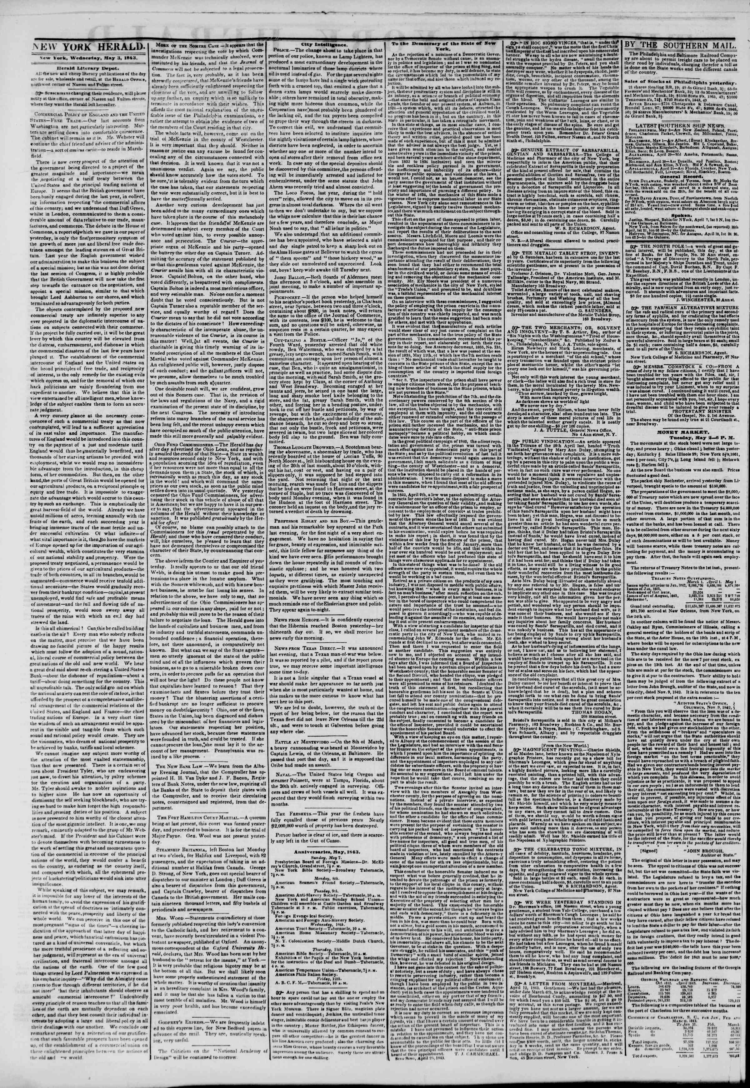 Newspaper of The New York Herald dated May 3, 1843 Page 2