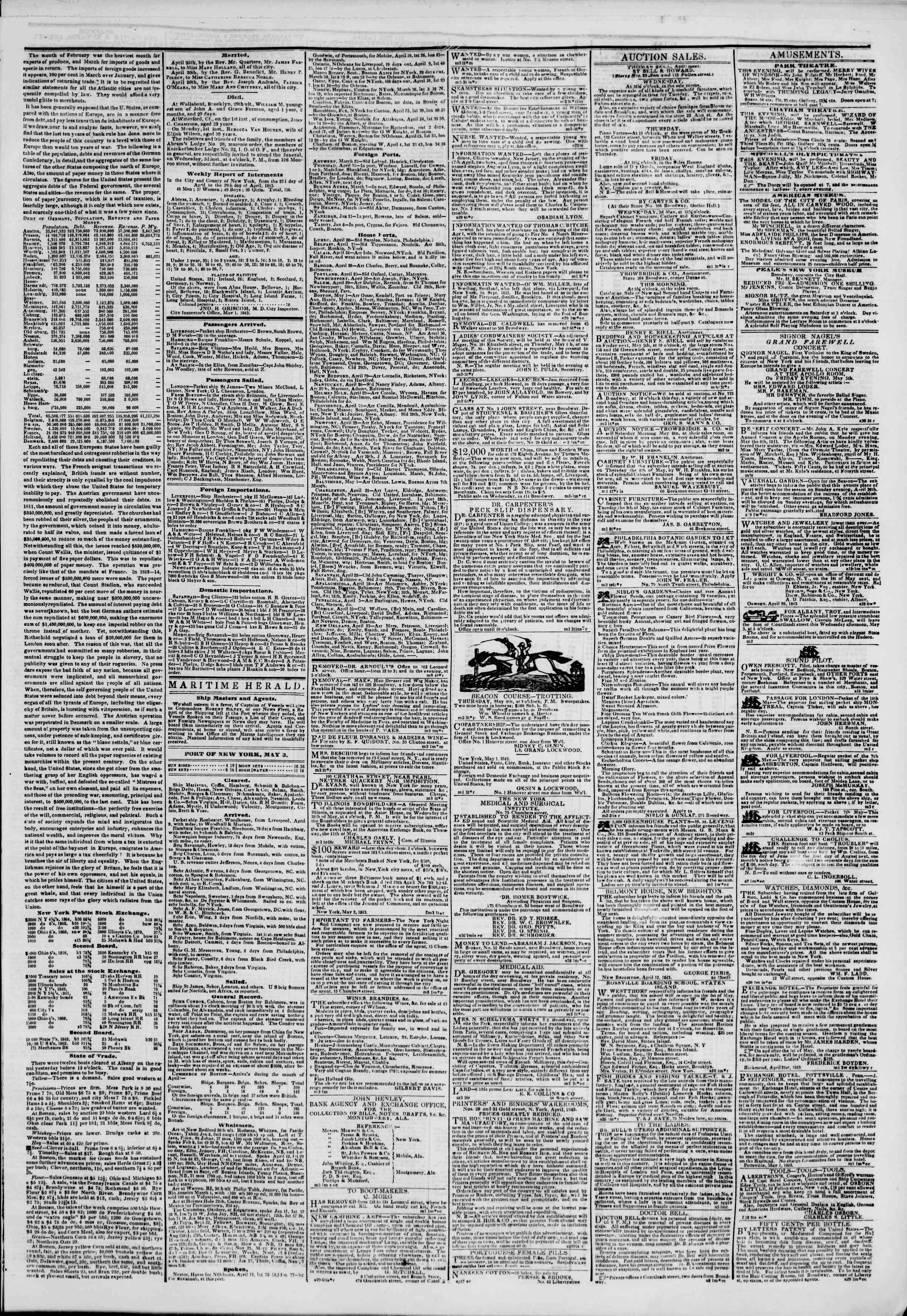 May 3, 1843 Tarihli The New York Herald Gazetesi Sayfa 3