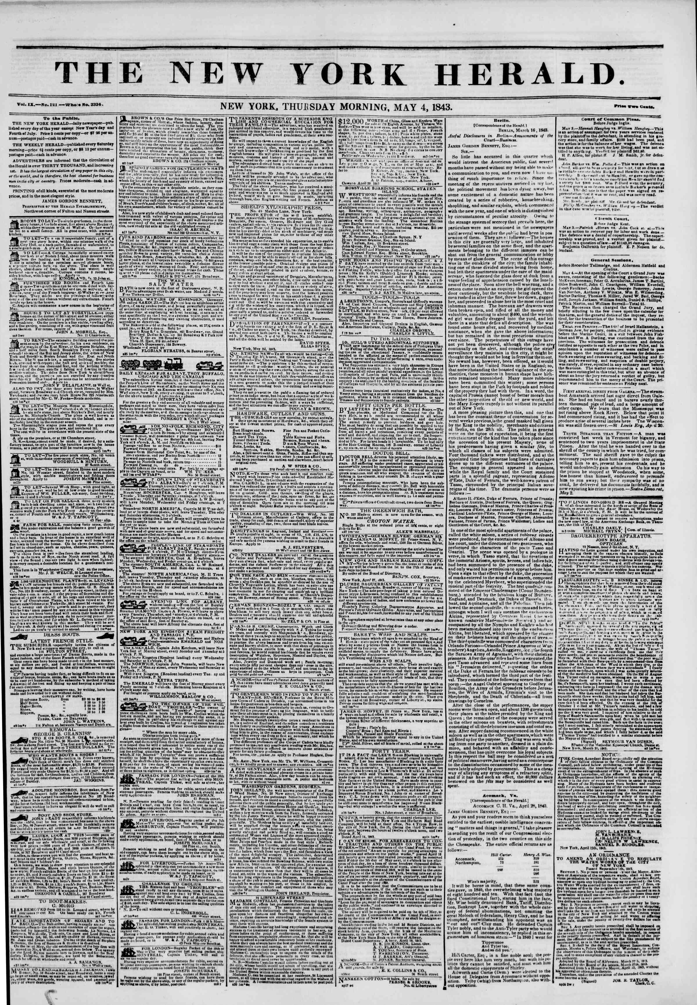 Newspaper of The New York Herald dated May 4, 1843 Page 1