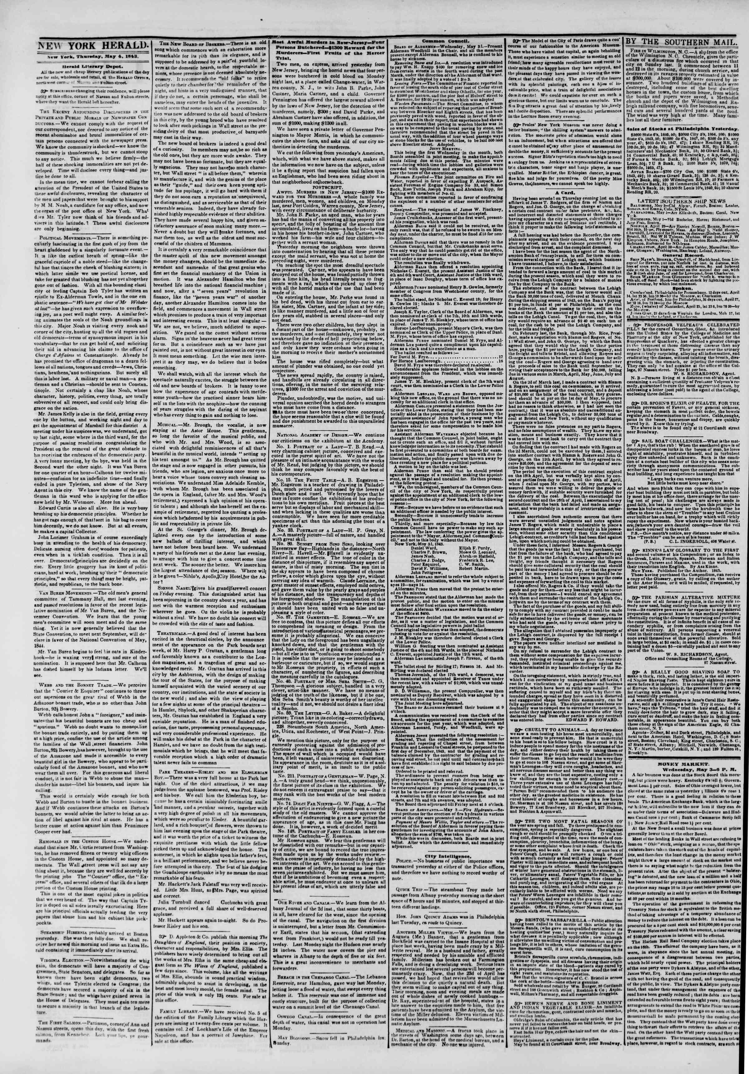 May 4, 1843 Tarihli The New York Herald Gazetesi Sayfa 2