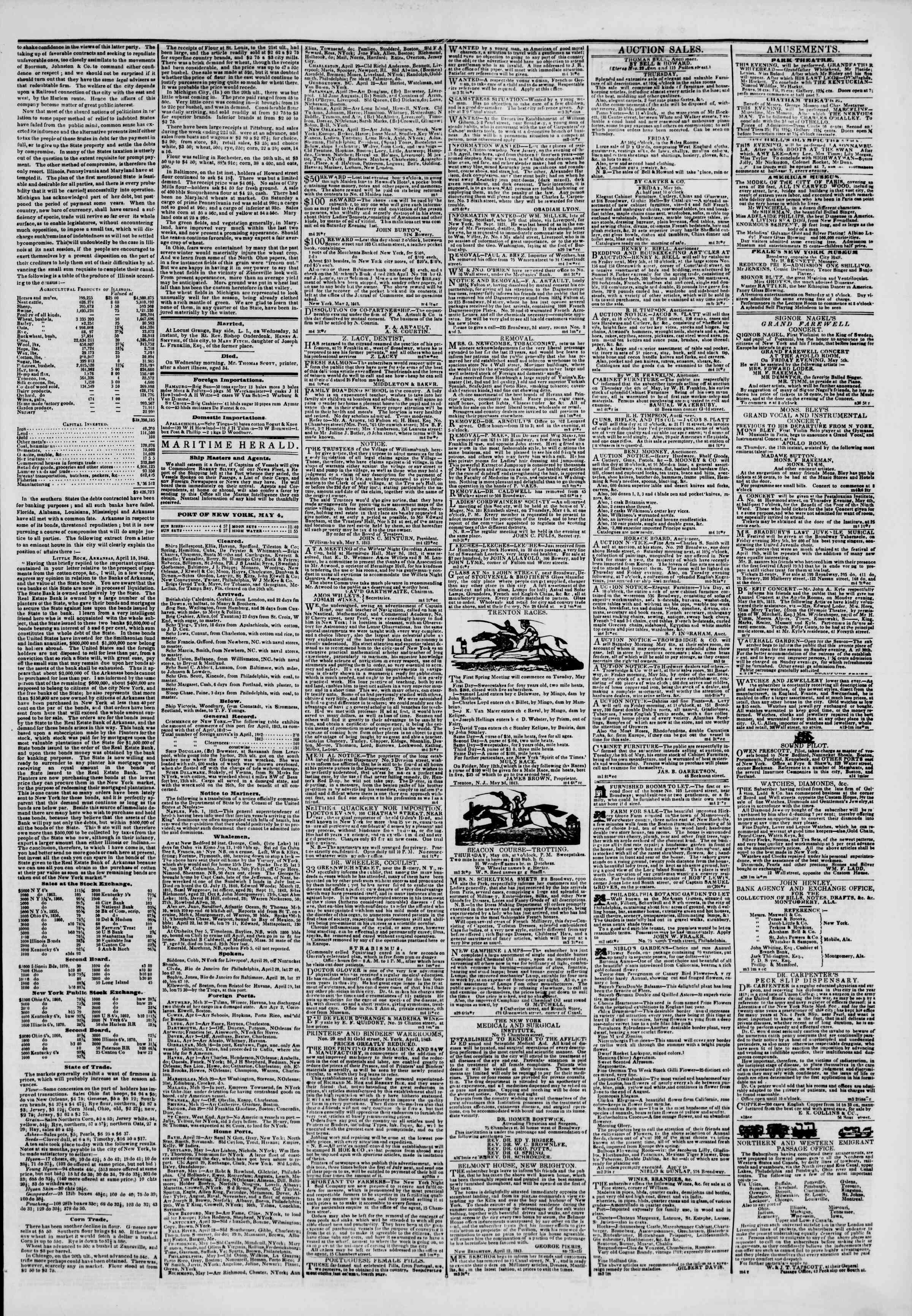 May 4, 1843 Tarihli The New York Herald Gazetesi Sayfa 3