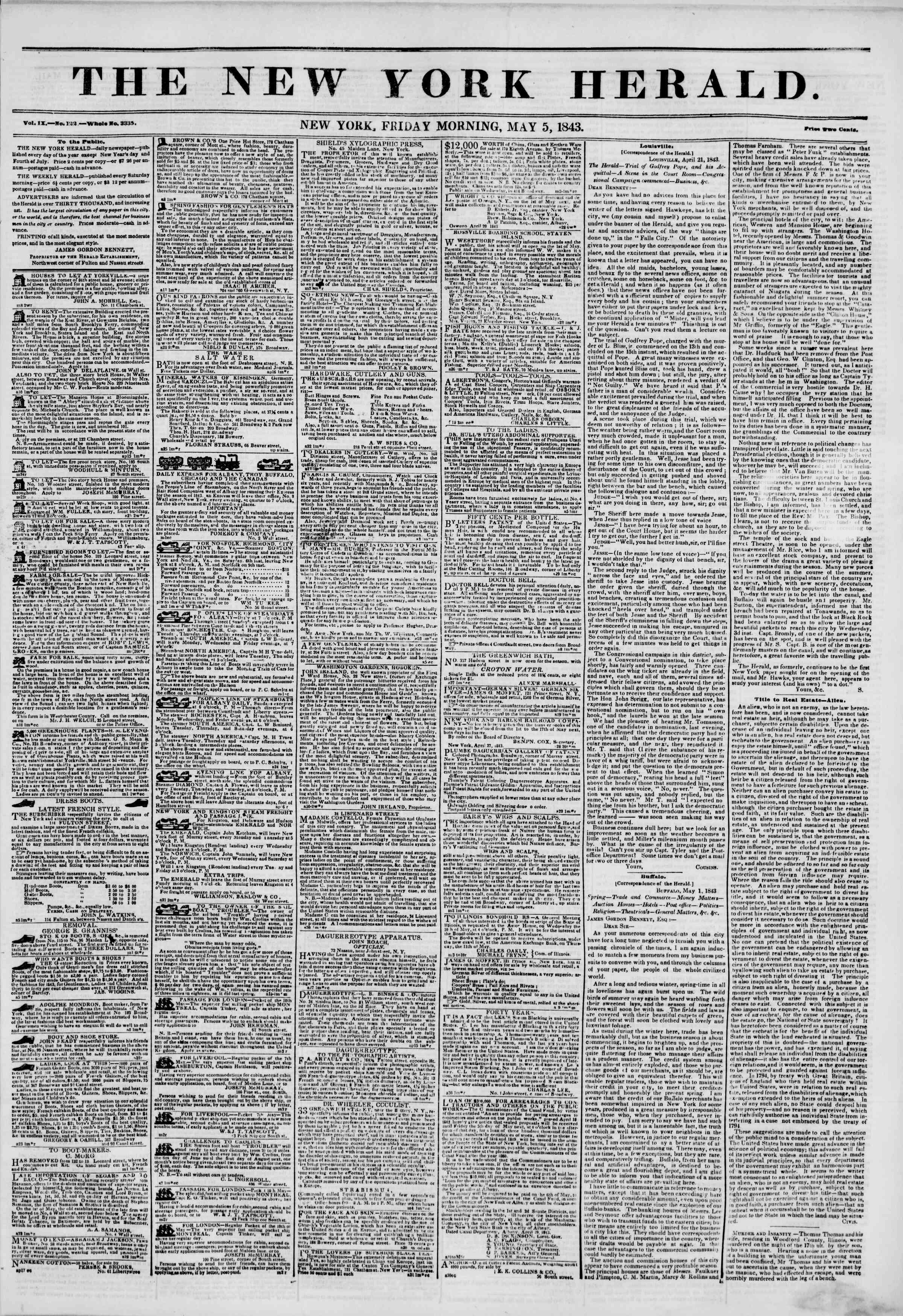 May 5, 1843 Tarihli The New York Herald Gazetesi Sayfa 1