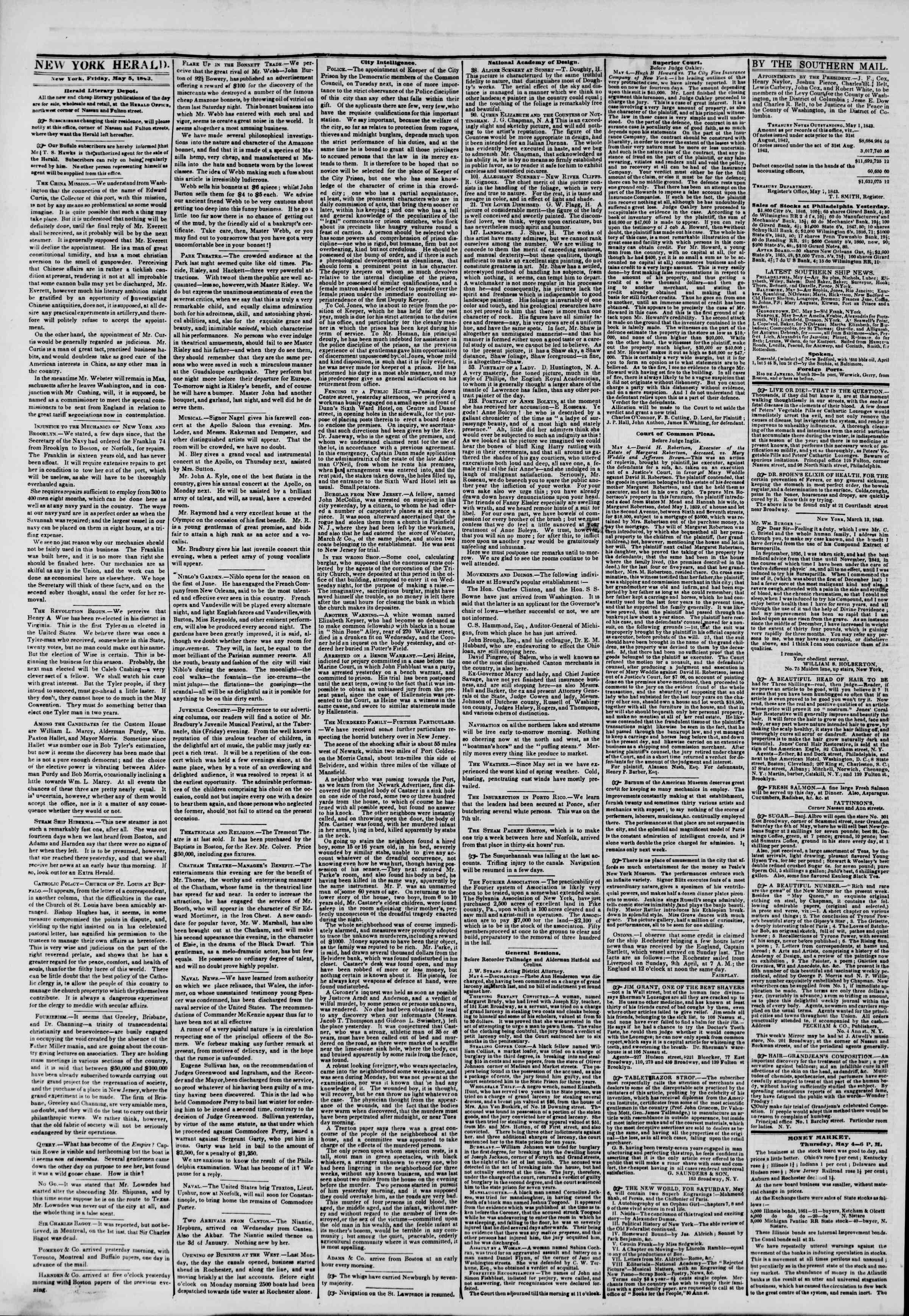 May 5, 1843 Tarihli The New York Herald Gazetesi Sayfa 2