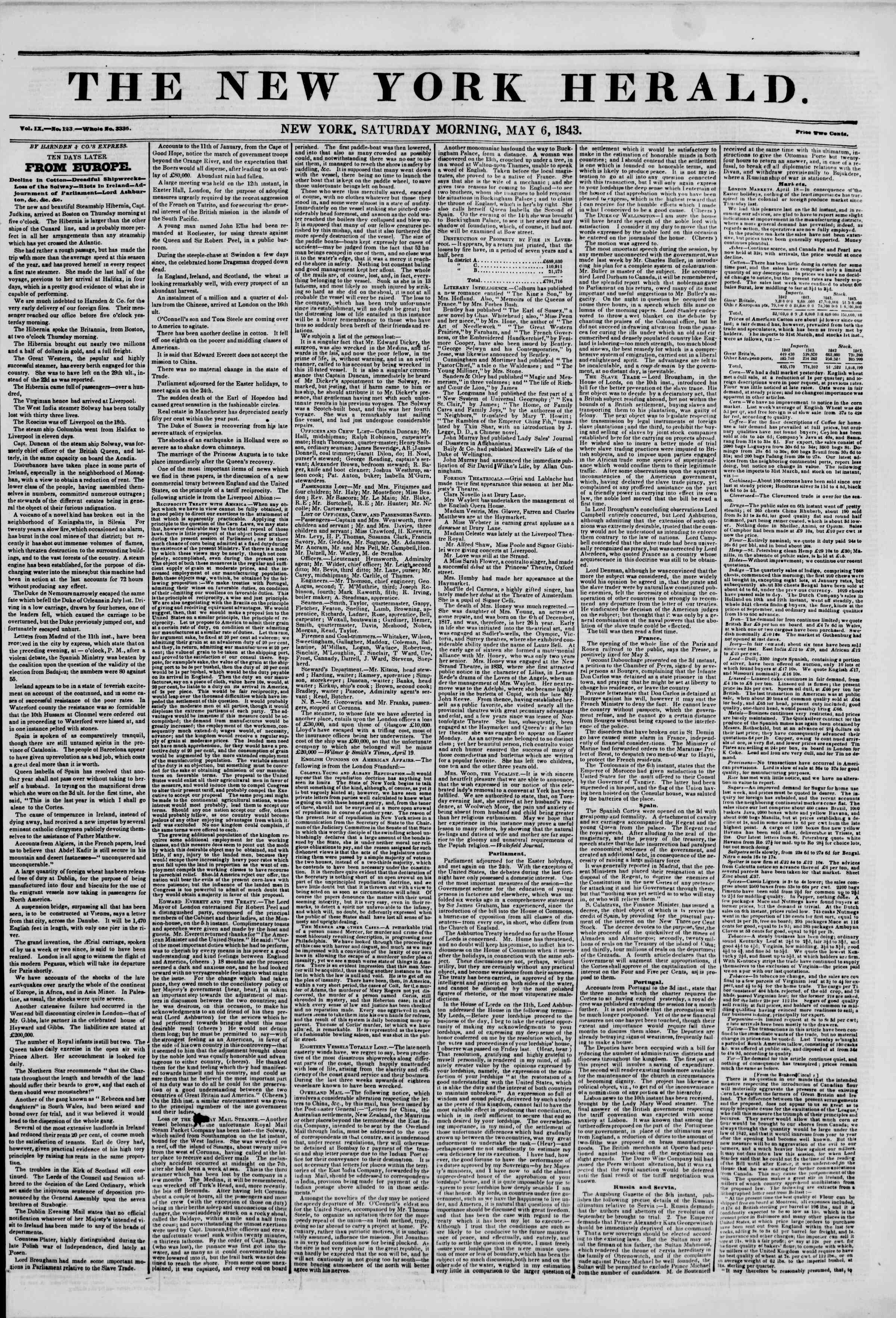Newspaper of The New York Herald dated May 6, 1843 Page 1