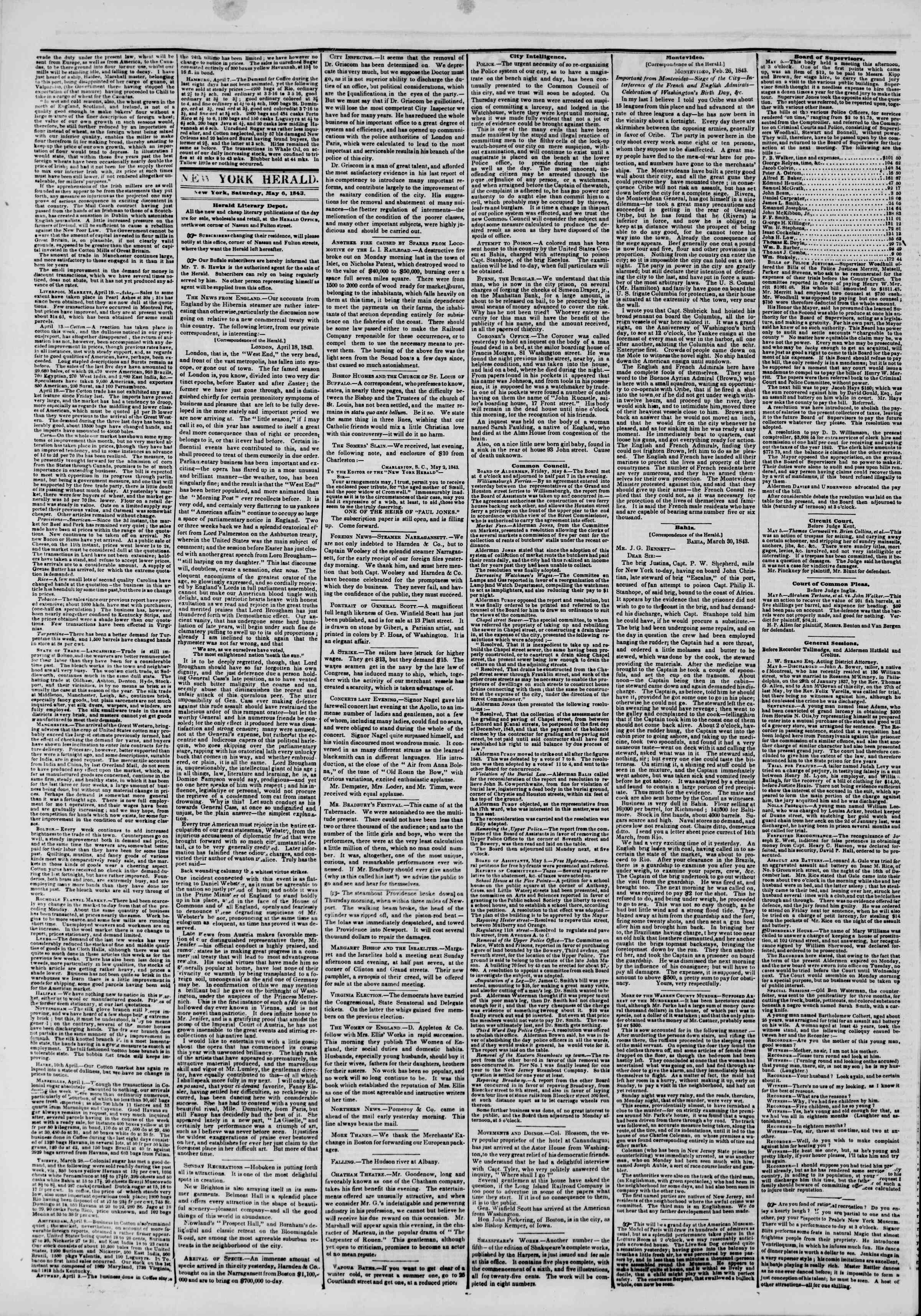Newspaper of The New York Herald dated May 6, 1843 Page 2