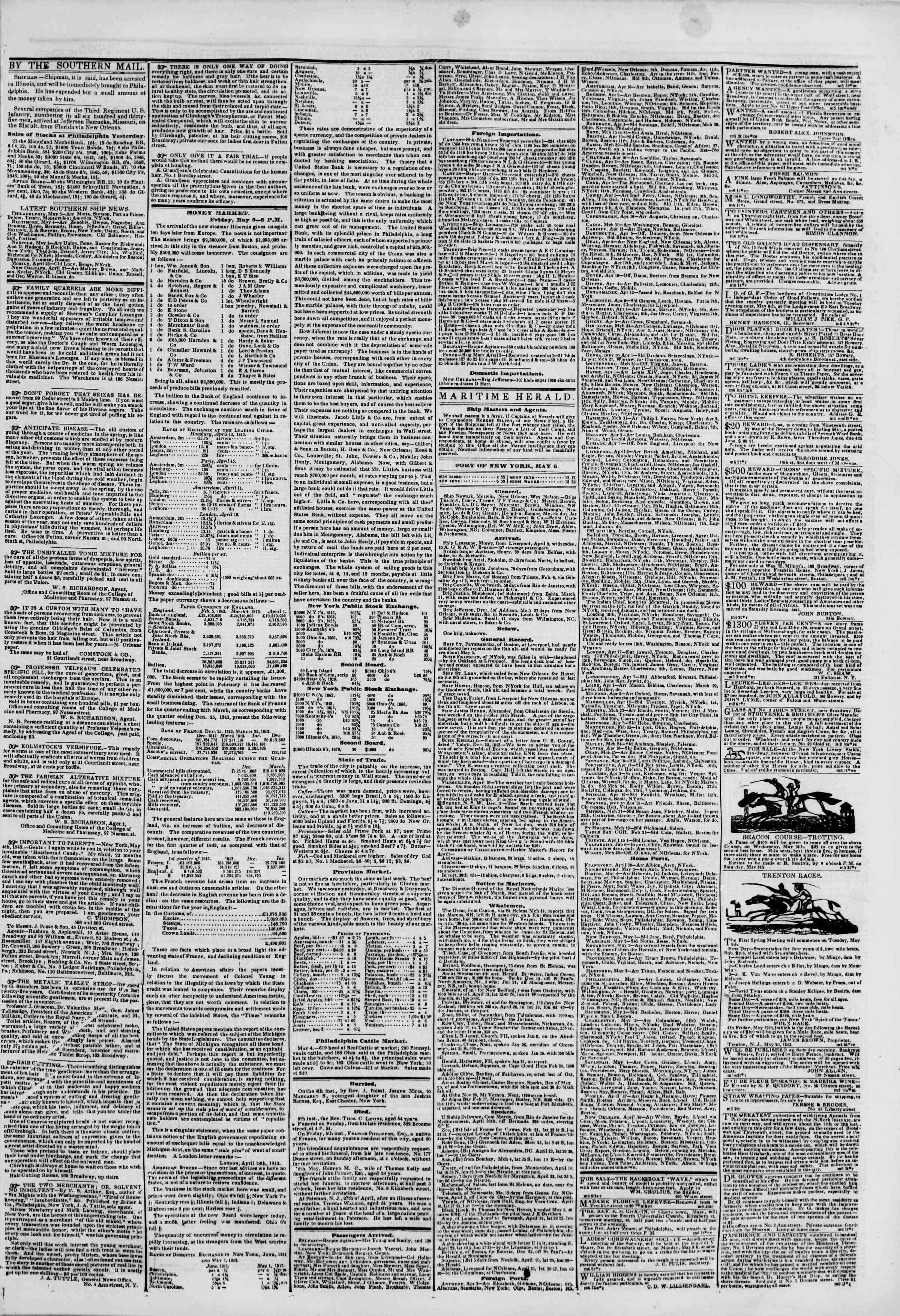 Newspaper of The New York Herald dated May 6, 1843 Page 3