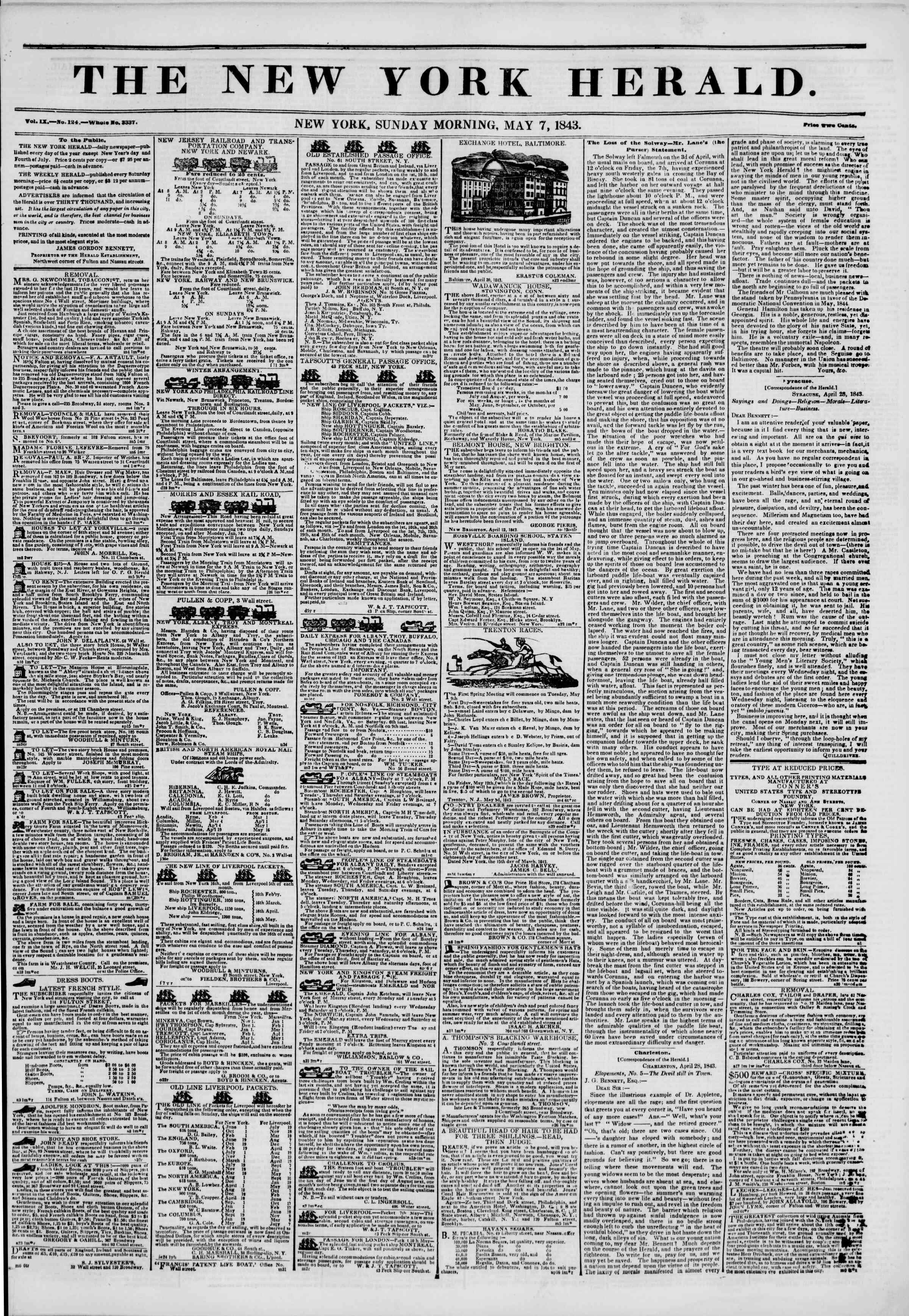 May 7, 1843 Tarihli The New York Herald Gazetesi Sayfa 1