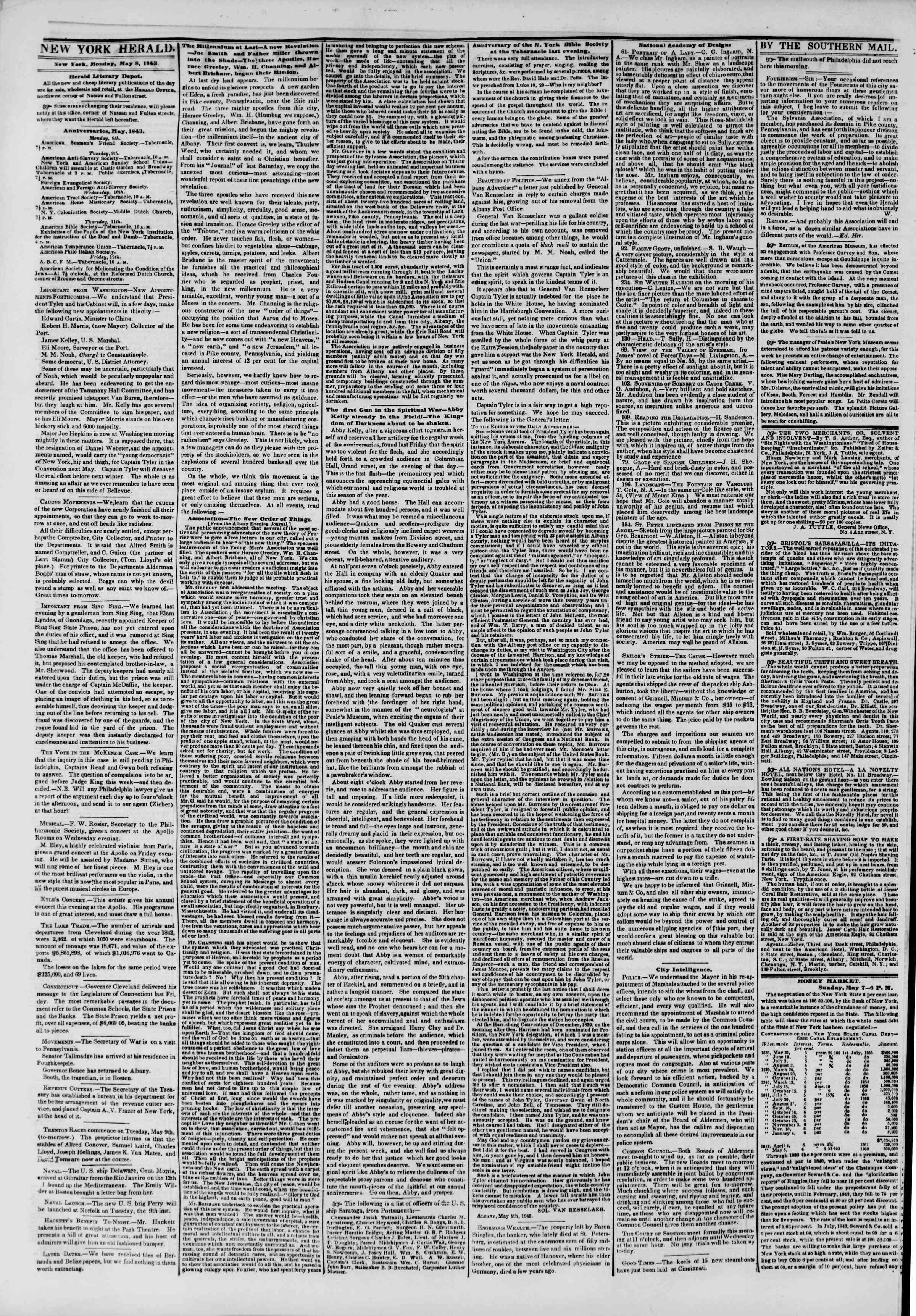 Newspaper of The New York Herald dated May 8, 1843 Page 2