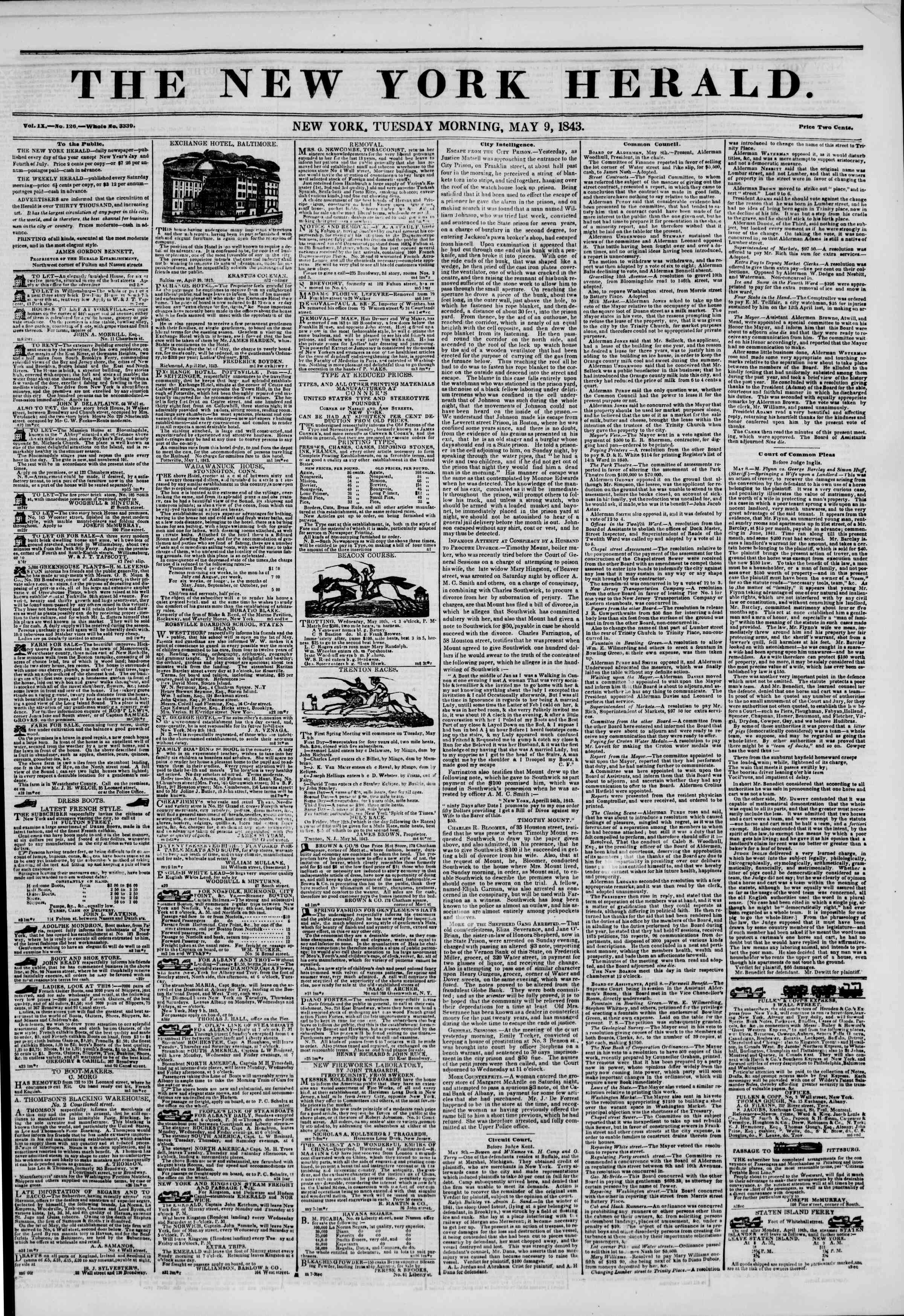 Newspaper of The New York Herald dated May 9, 1843 Page 1