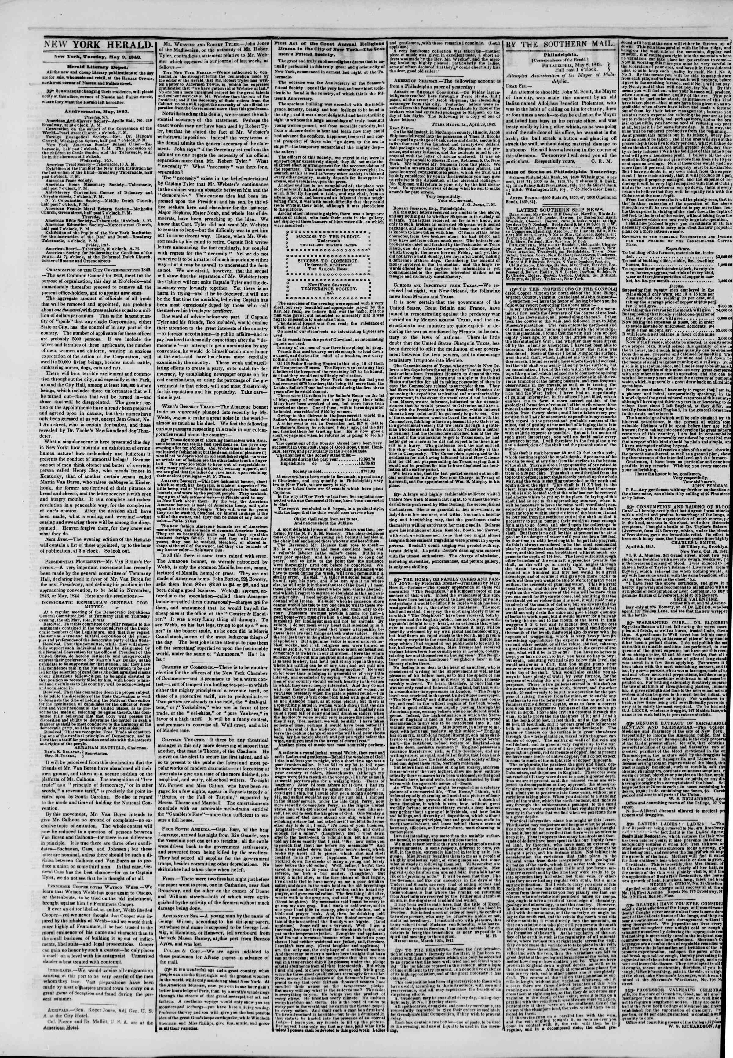 Newspaper of The New York Herald dated May 9, 1843 Page 2