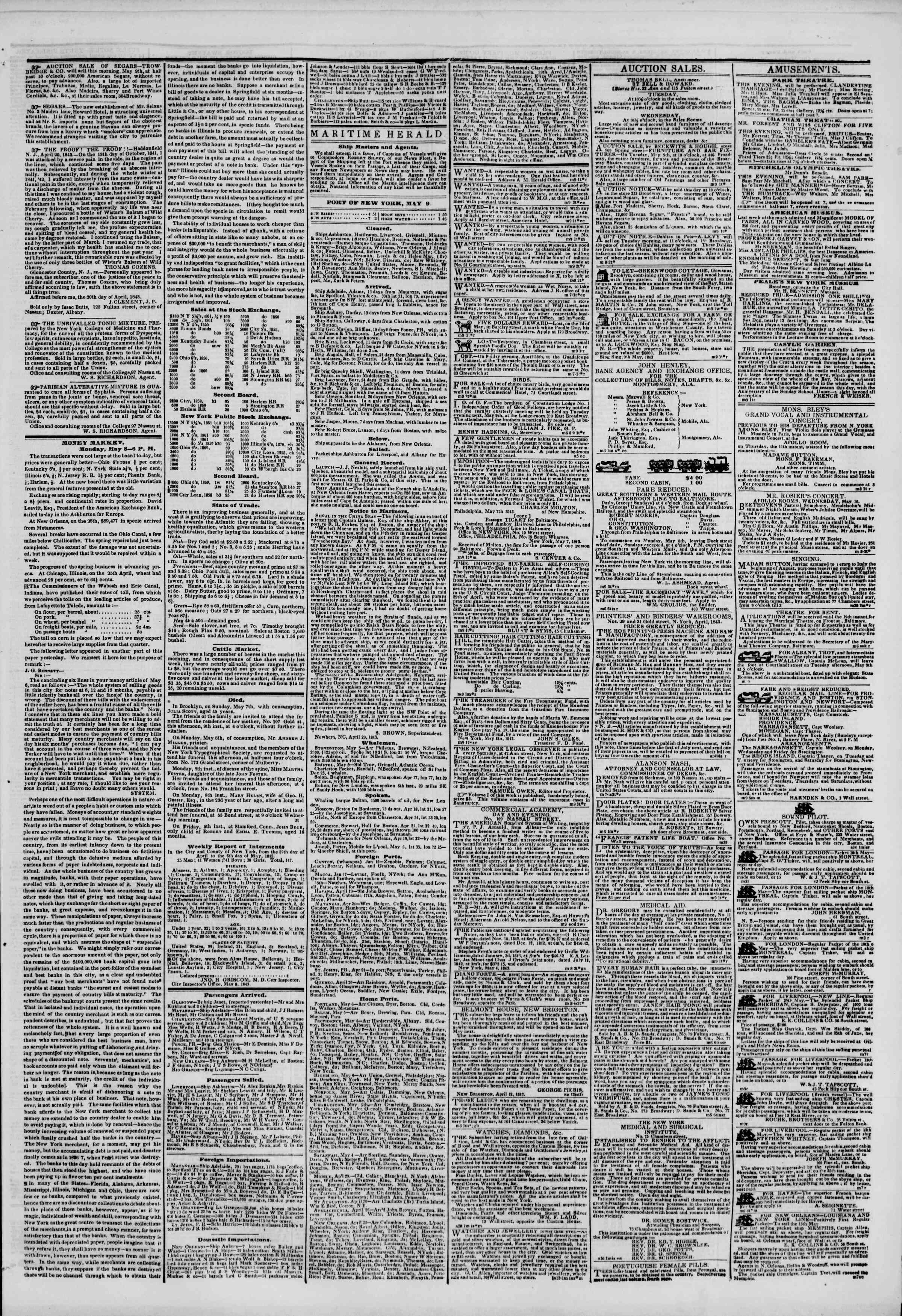 May 9, 1843 Tarihli The New York Herald Gazetesi Sayfa 3