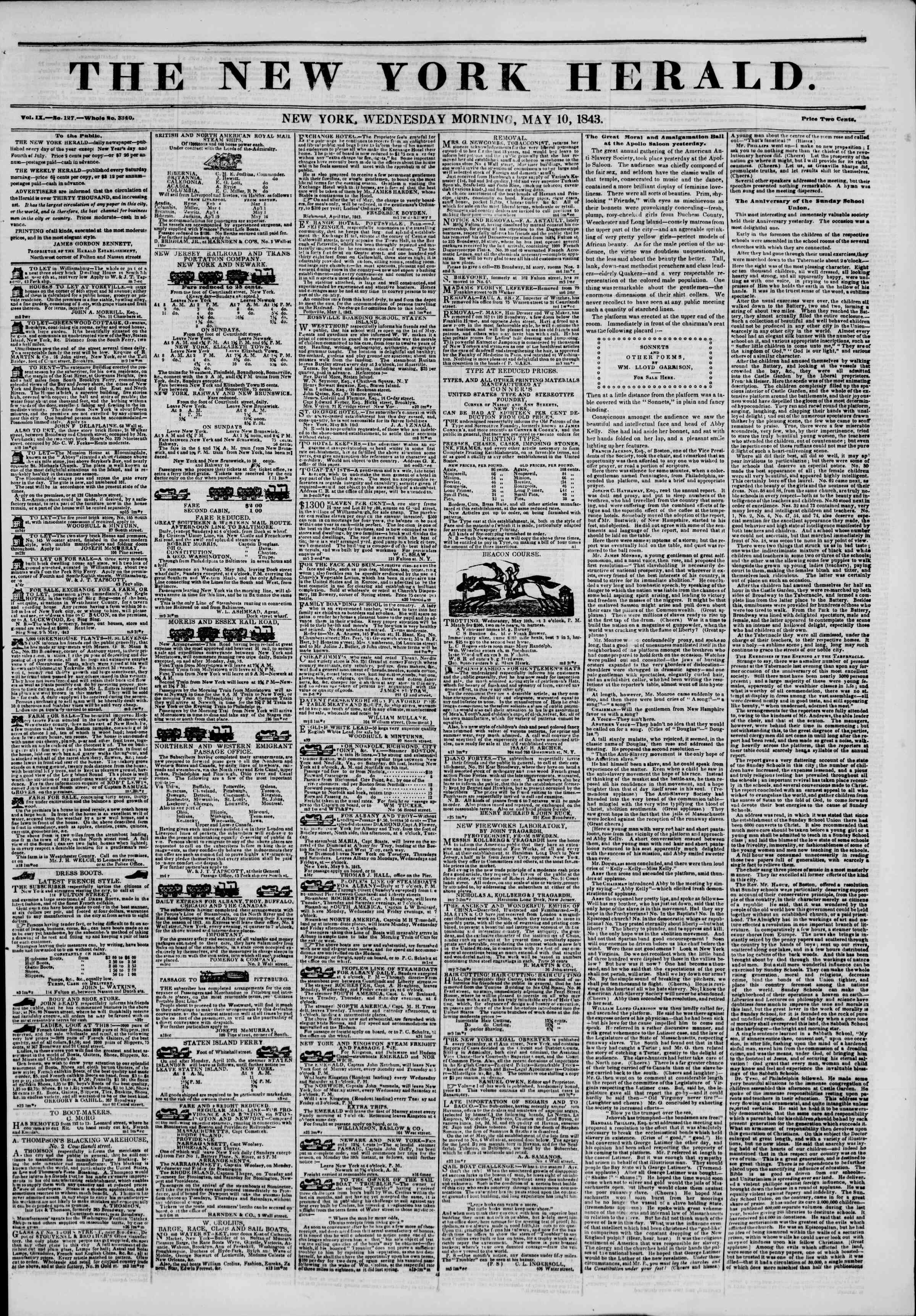 May 10, 1843 Tarihli The New York Herald Gazetesi Sayfa 1