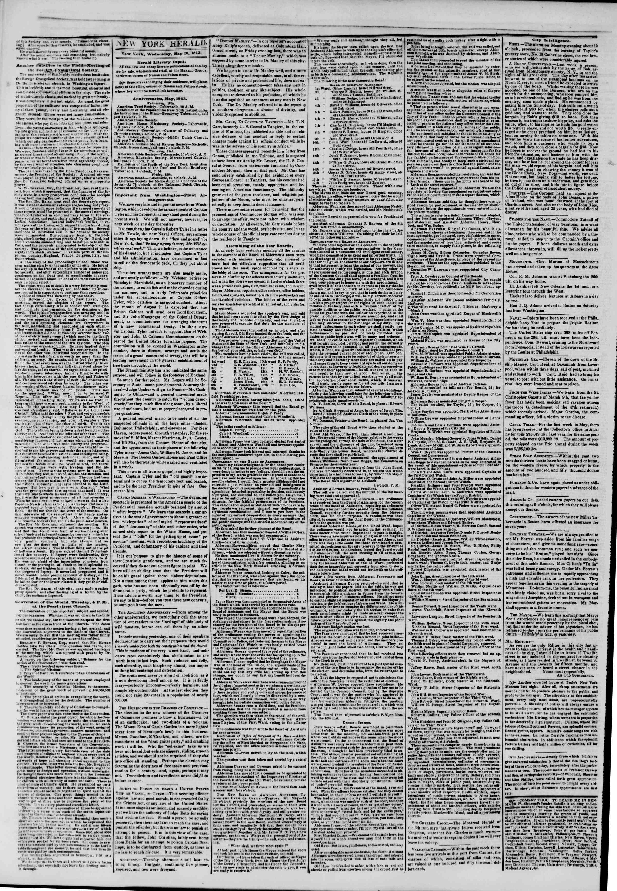 Newspaper of The New York Herald dated May 10, 1843 Page 2