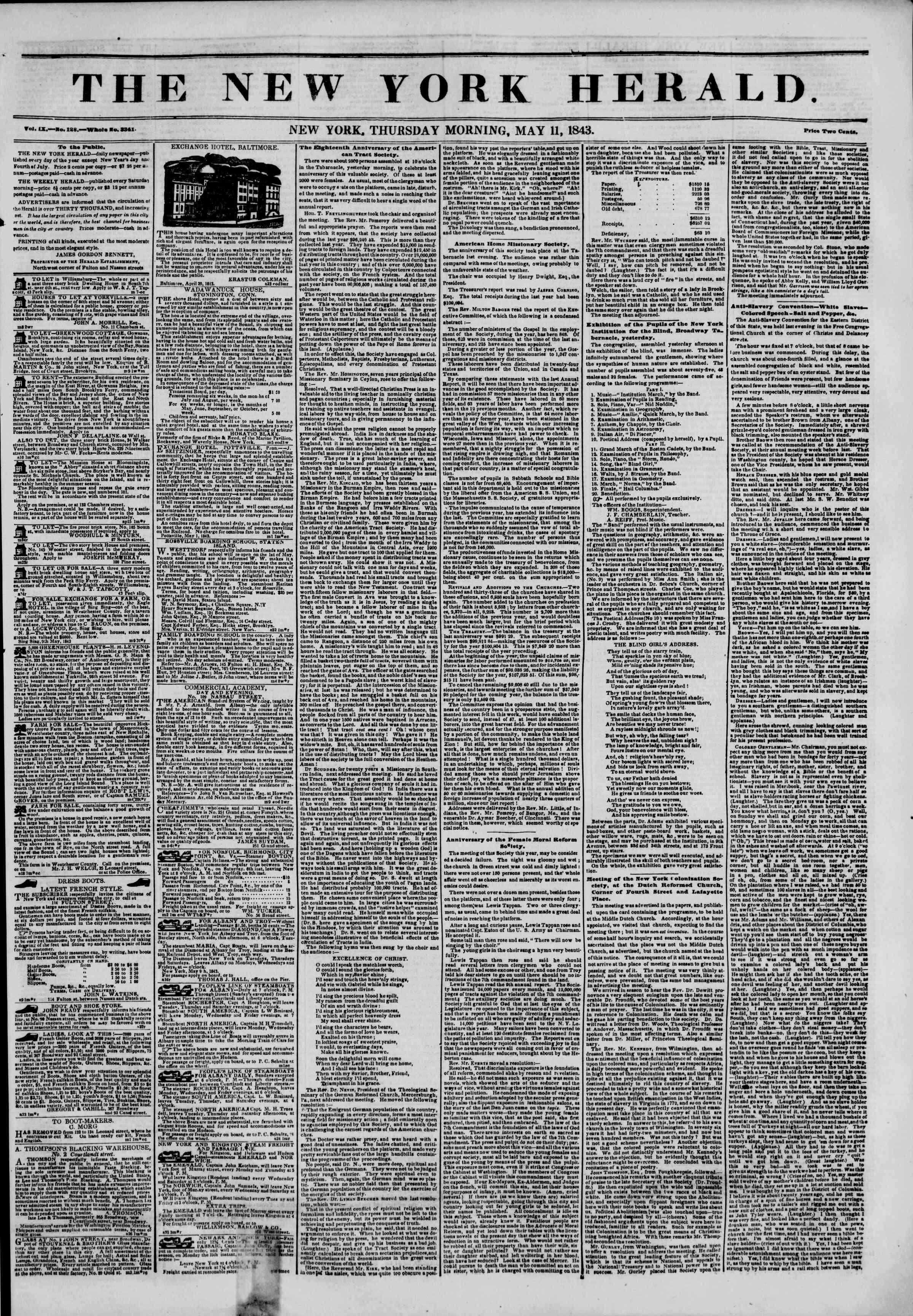 May 11, 1843 Tarihli The New York Herald Gazetesi Sayfa 1